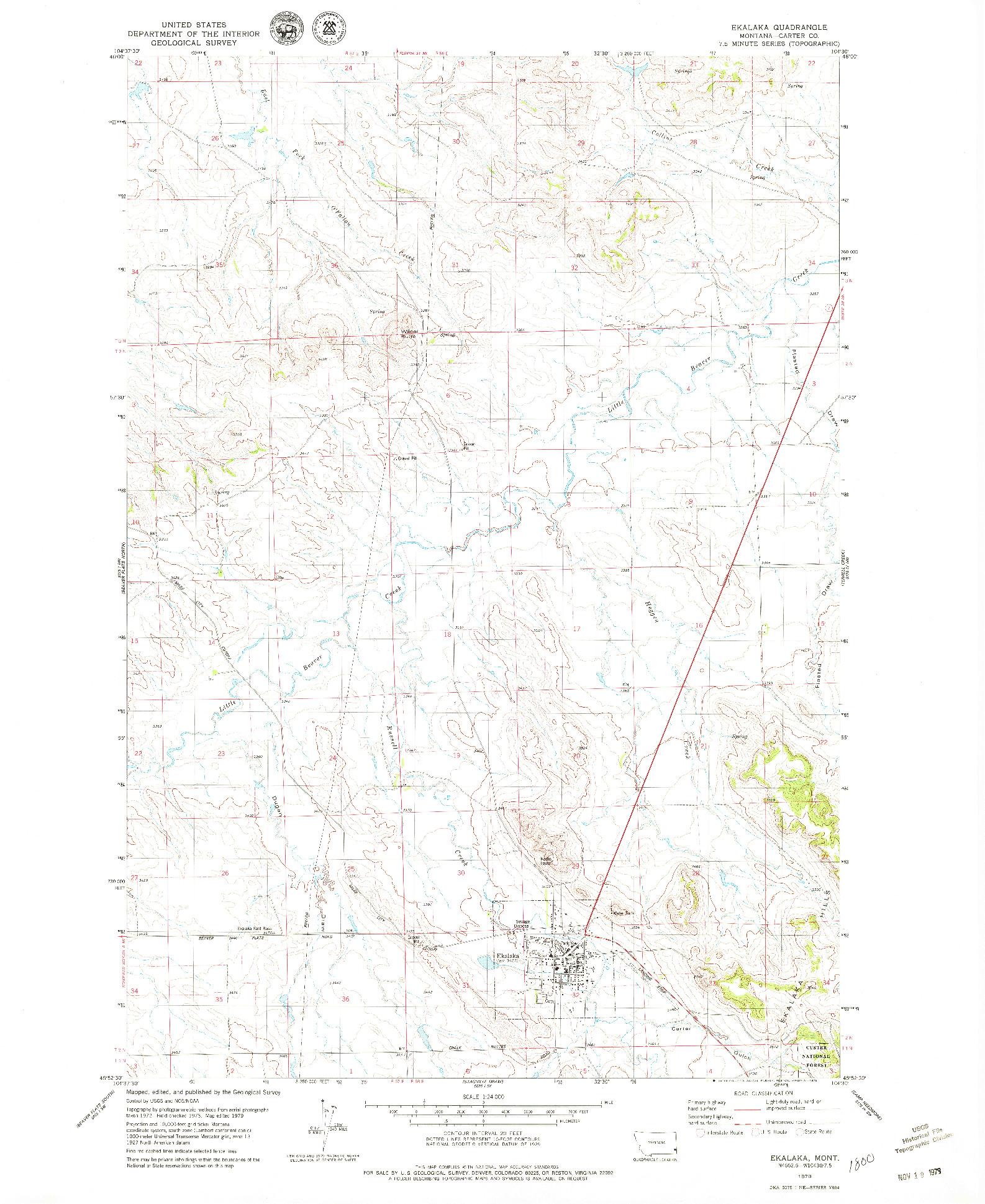 USGS 1:24000-SCALE QUADRANGLE FOR EKALAKA, MT 1979