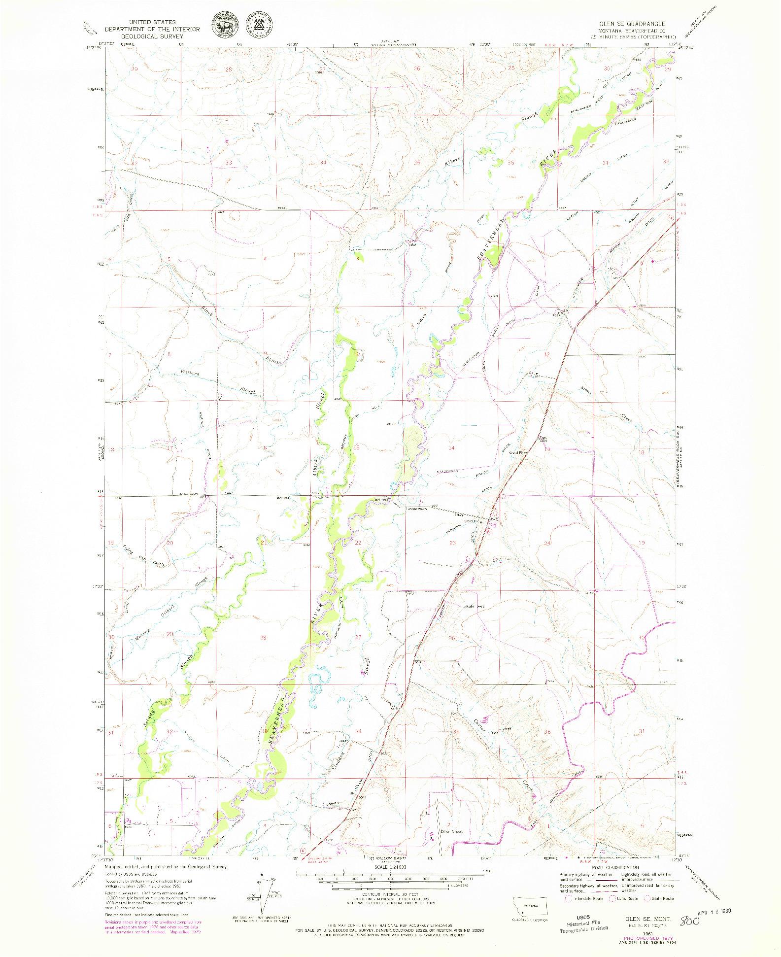 USGS 1:24000-SCALE QUADRANGLE FOR GLEN SE, MT 1961