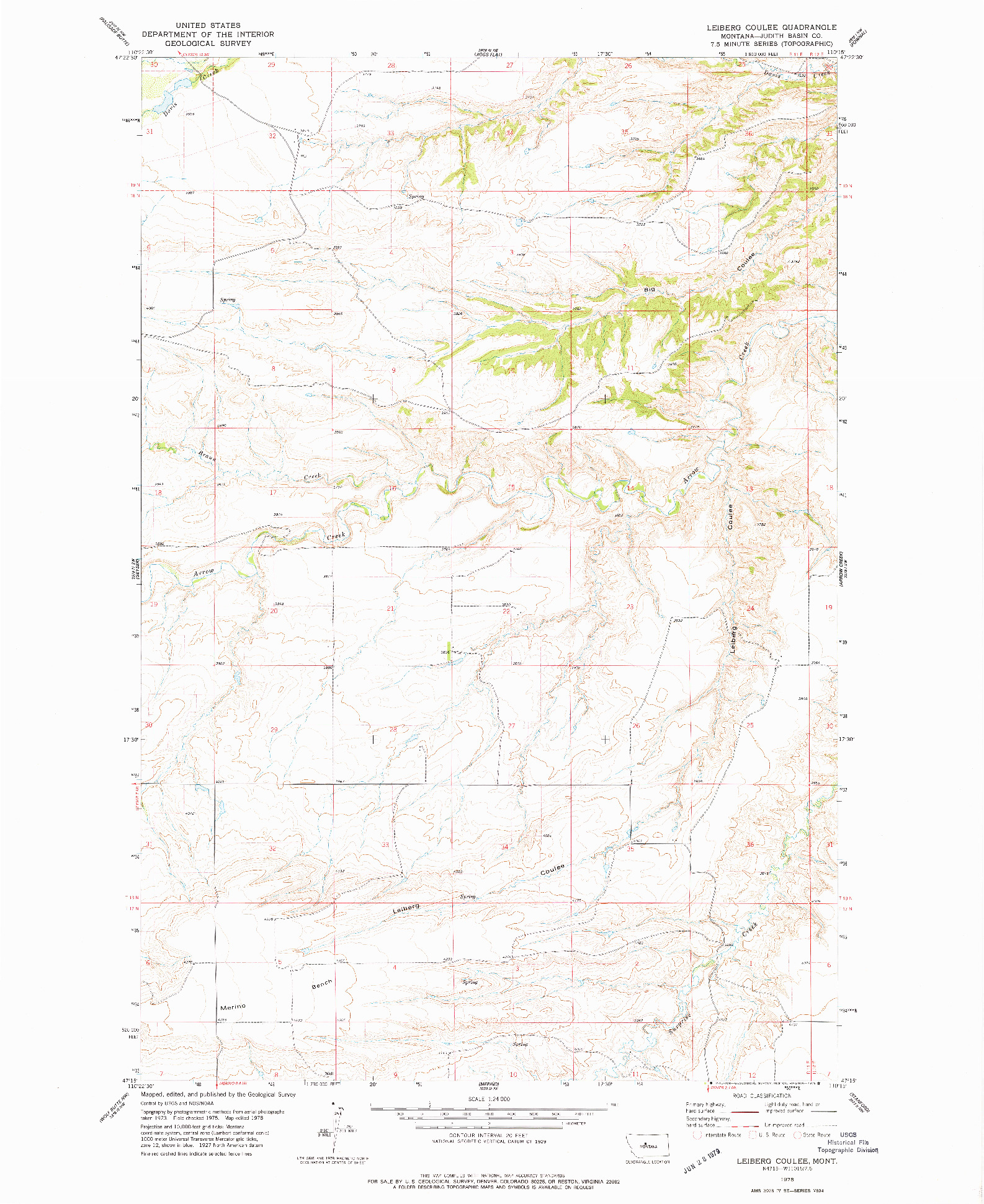 USGS 1:24000-SCALE QUADRANGLE FOR LEIBERG COULEE, MT 1978