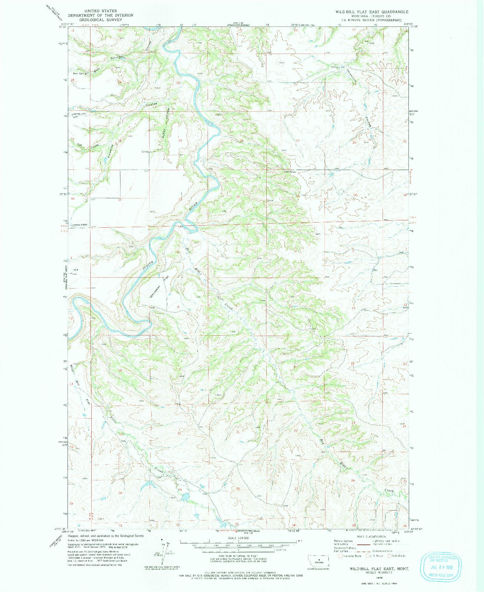 USGS 1:24000-SCALE QUADRANGLE FOR WILD BILL FLAT EAST, MT 1978