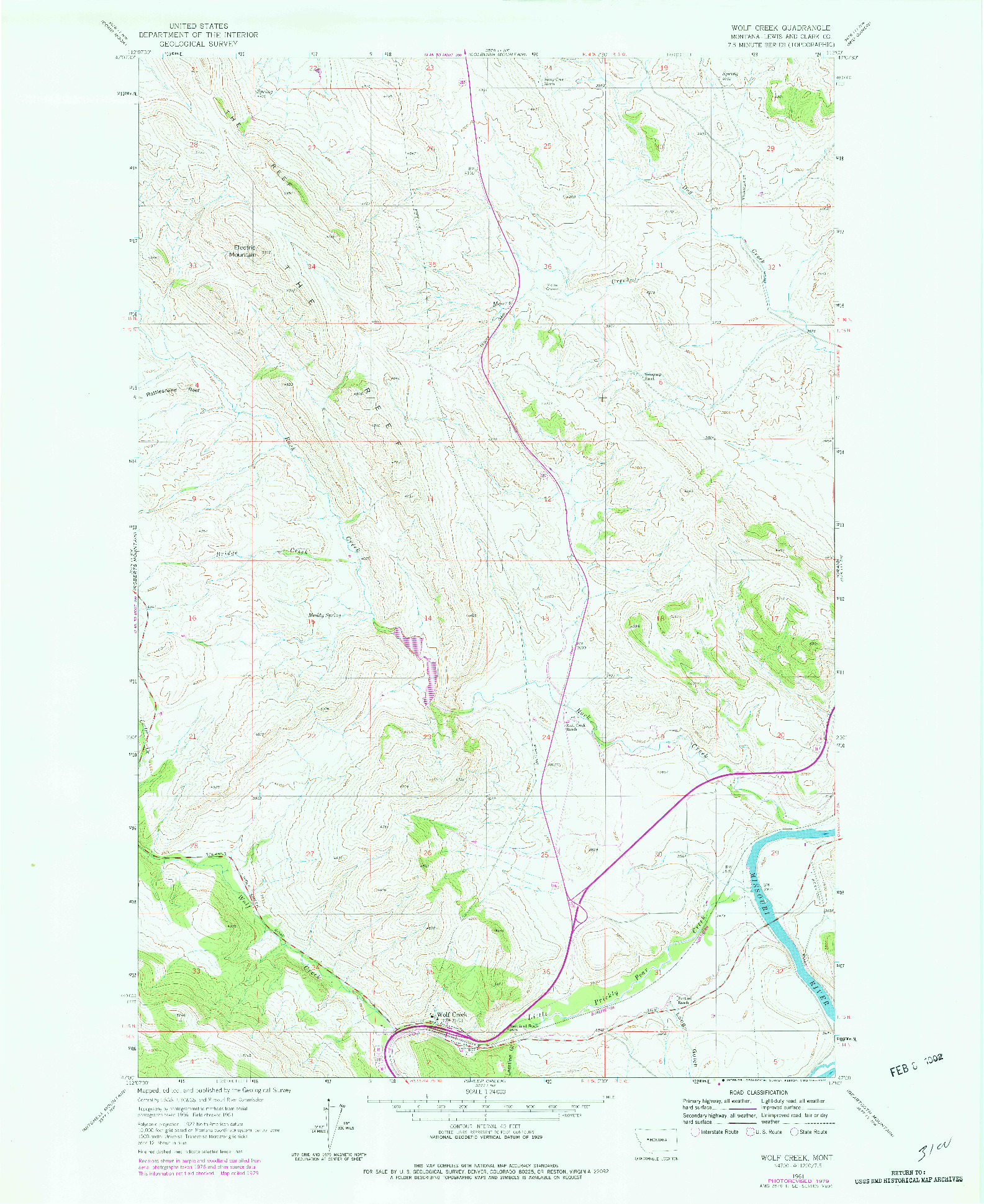 USGS 1:24000-SCALE QUADRANGLE FOR WOLF CREEK, MT 1961