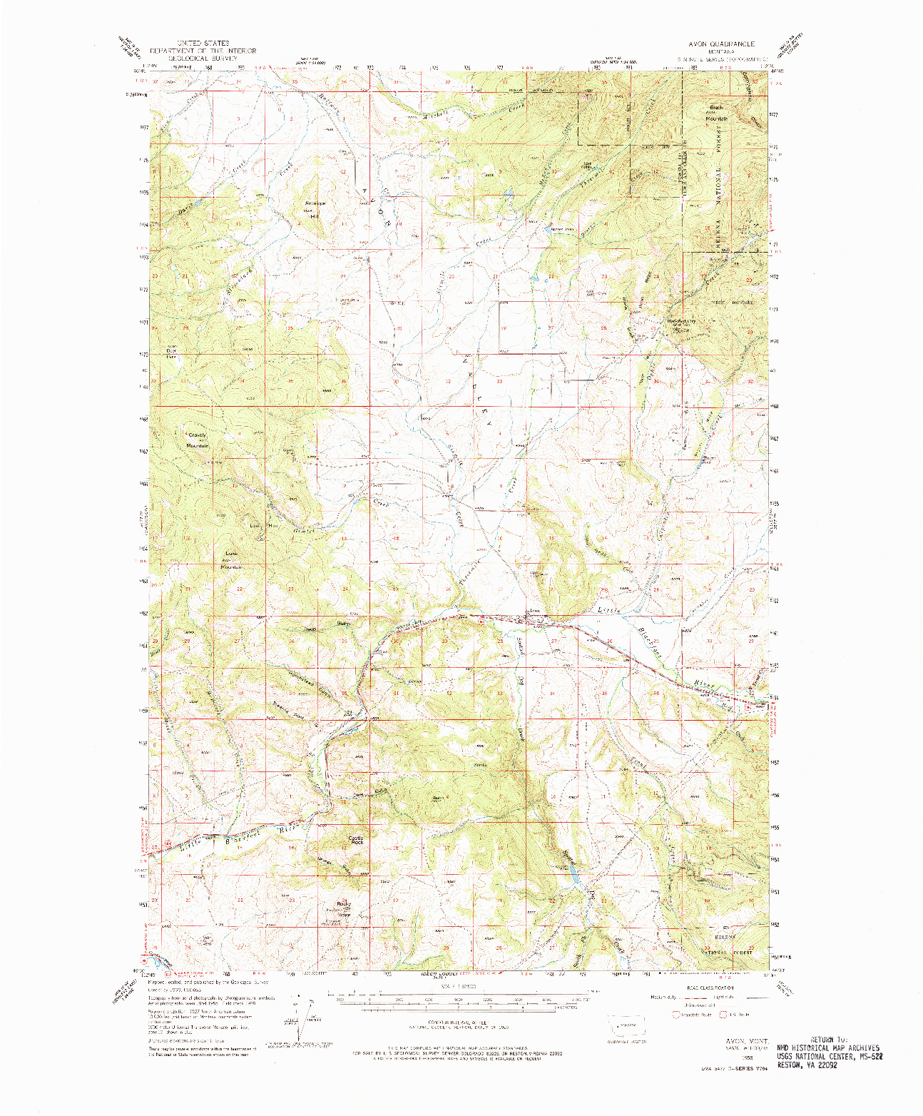 USGS 1:62500-SCALE QUADRANGLE FOR AVON, MT 1958