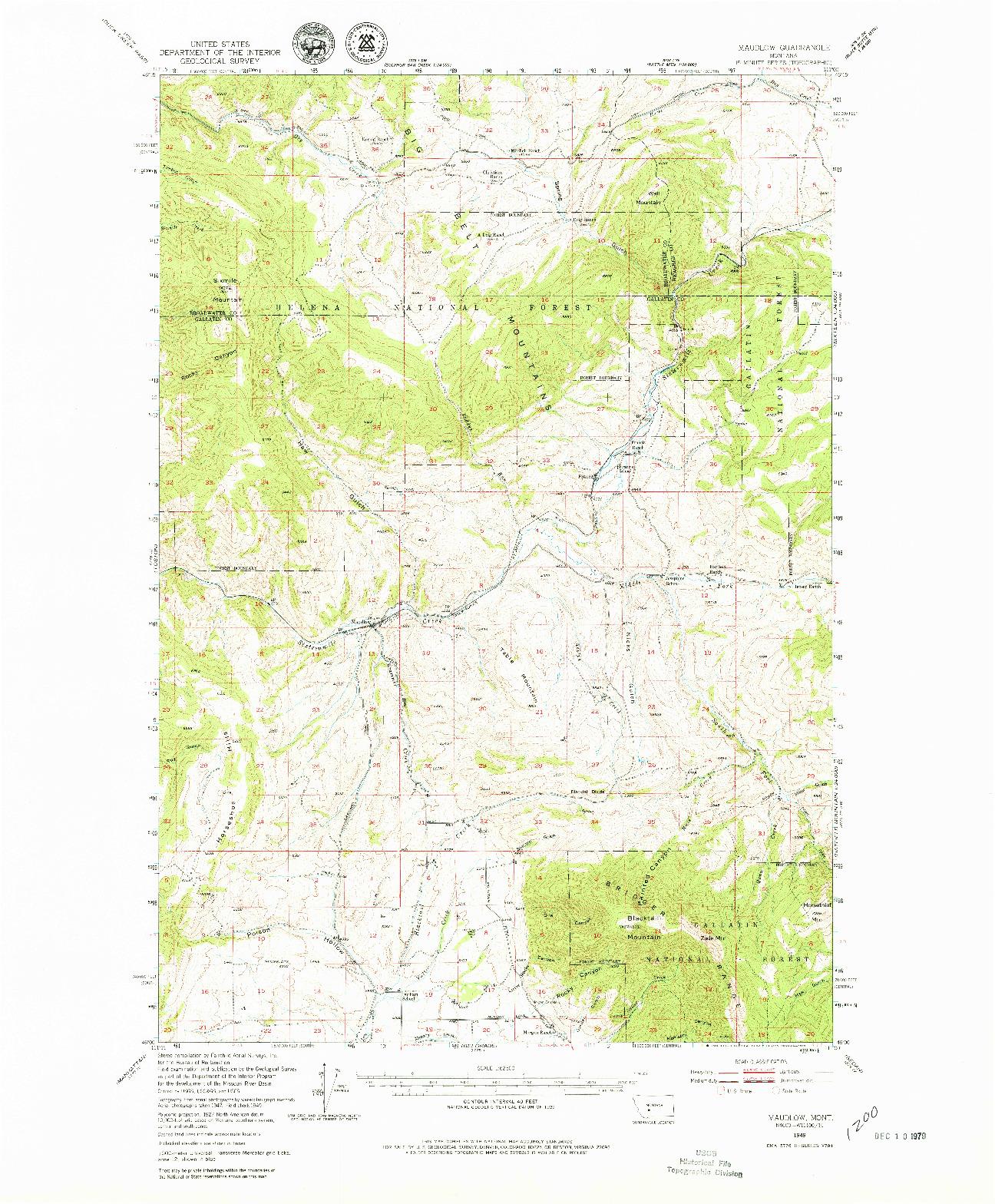 USGS 1:62500-SCALE QUADRANGLE FOR MAUDLOW, MT 1949