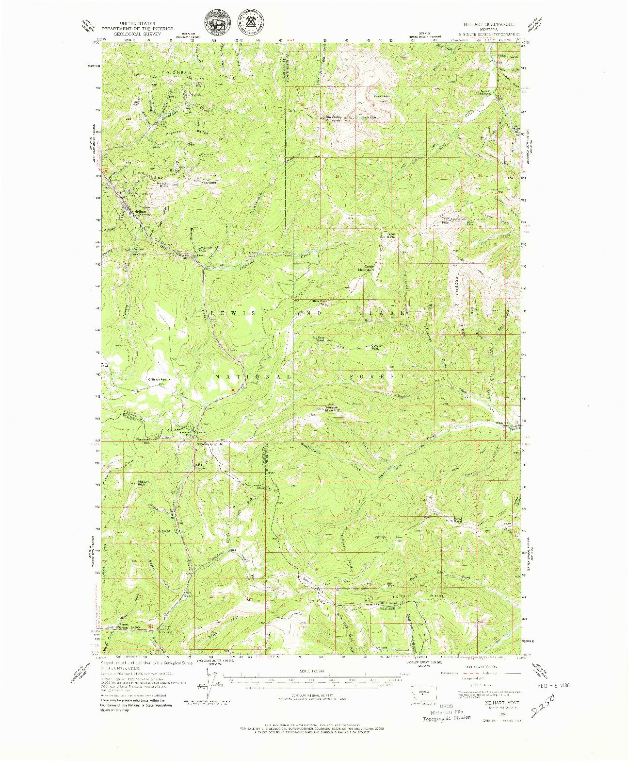 USGS 1:62500-SCALE QUADRANGLE FOR NEIHART, MT 1961