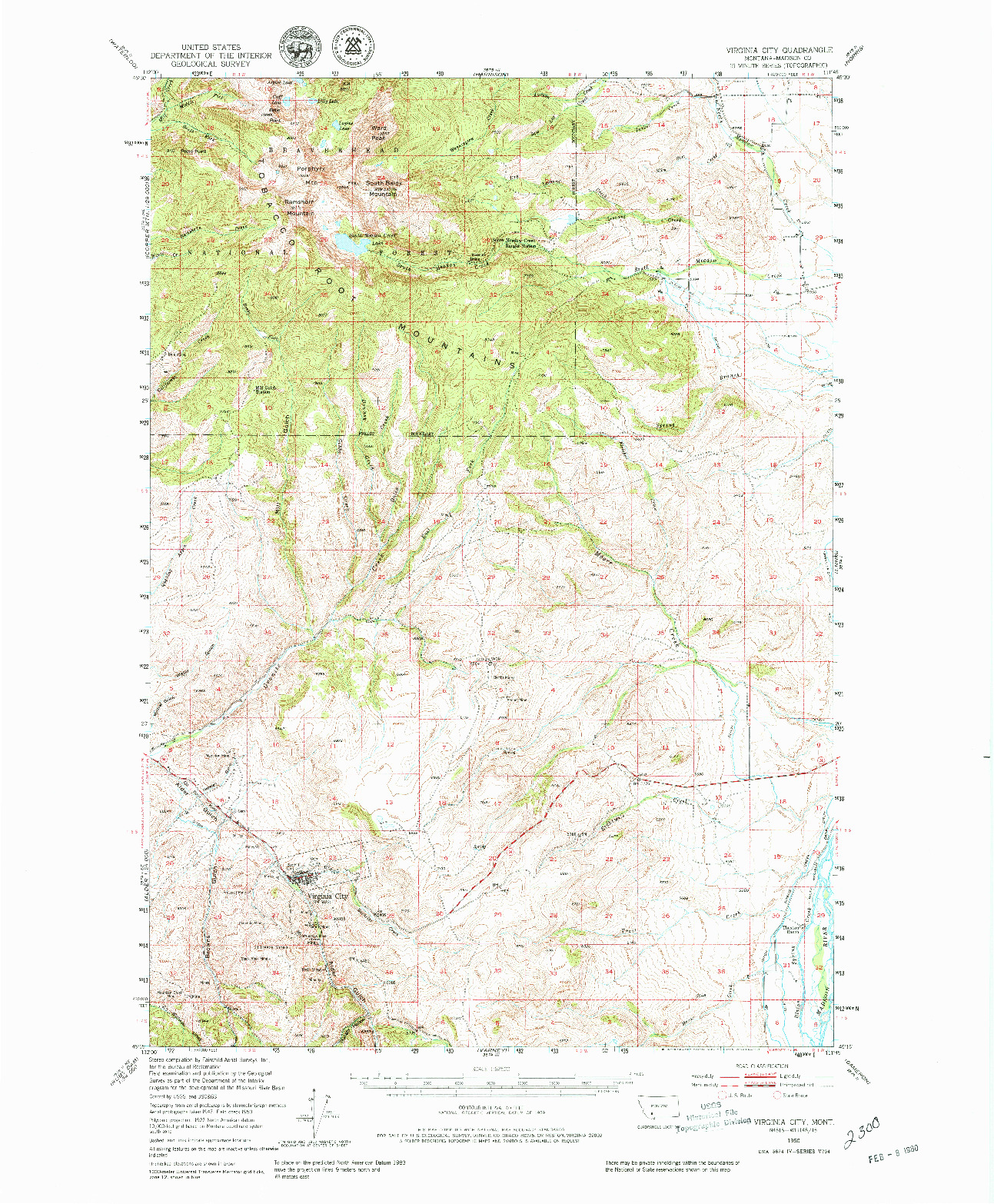 USGS 1:62500-SCALE QUADRANGLE FOR VIRGINIA CITY, MT 1950