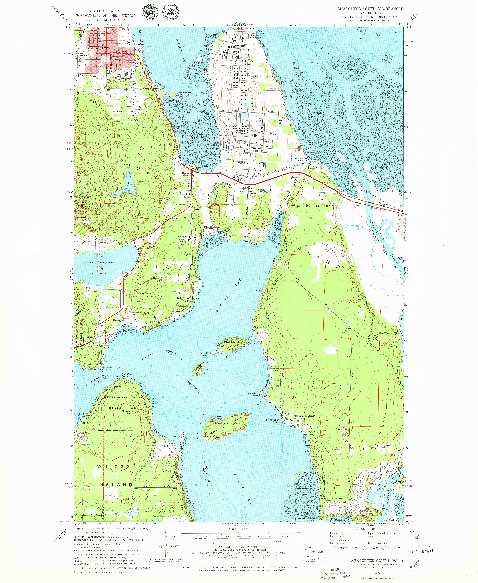 USGS 1:24000-SCALE QUADRANGLE FOR ANACORTES SOUTH, WA 1978