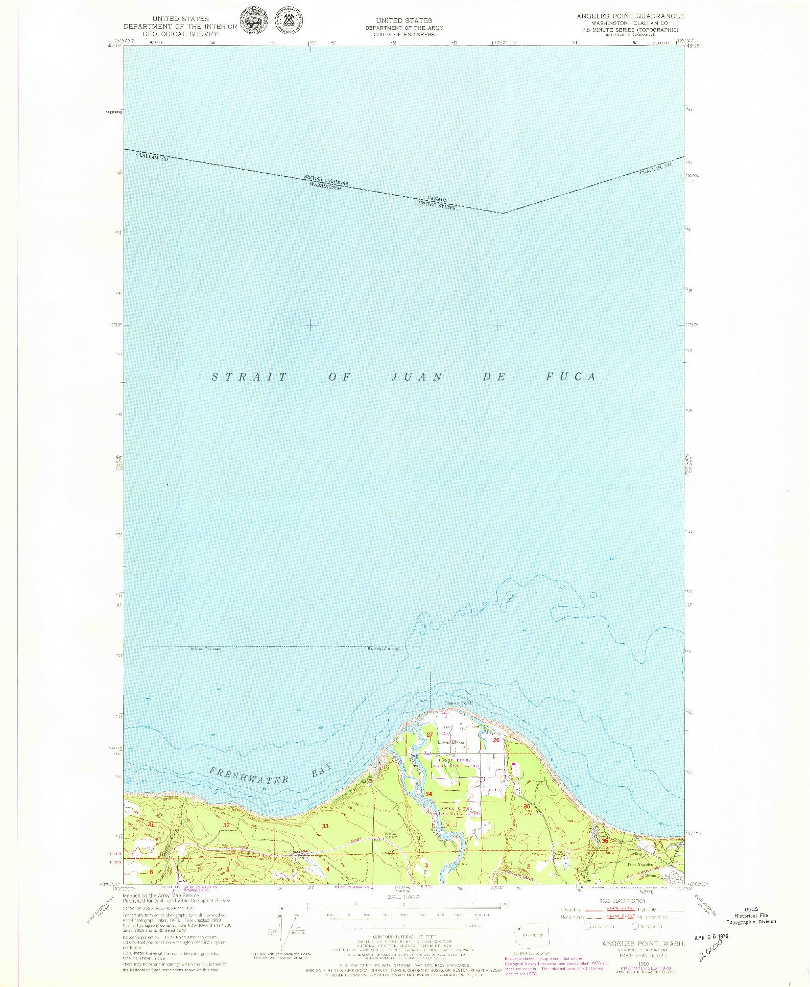 USGS 1:24000-SCALE QUADRANGLE FOR ANGELES POINT, WA 1950