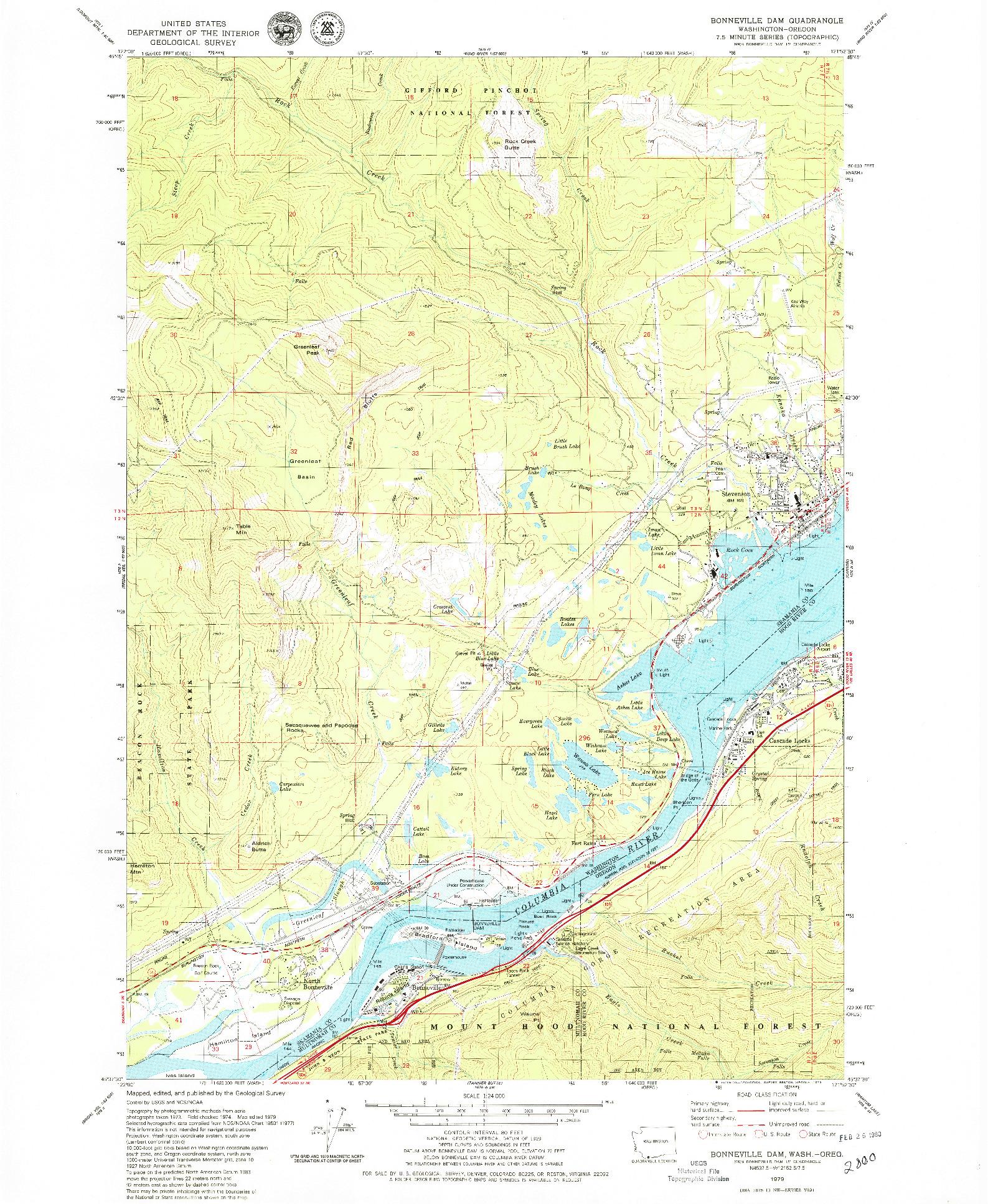 USGS 1:24000-SCALE QUADRANGLE FOR BONNEVILLE DAM, WA 1979