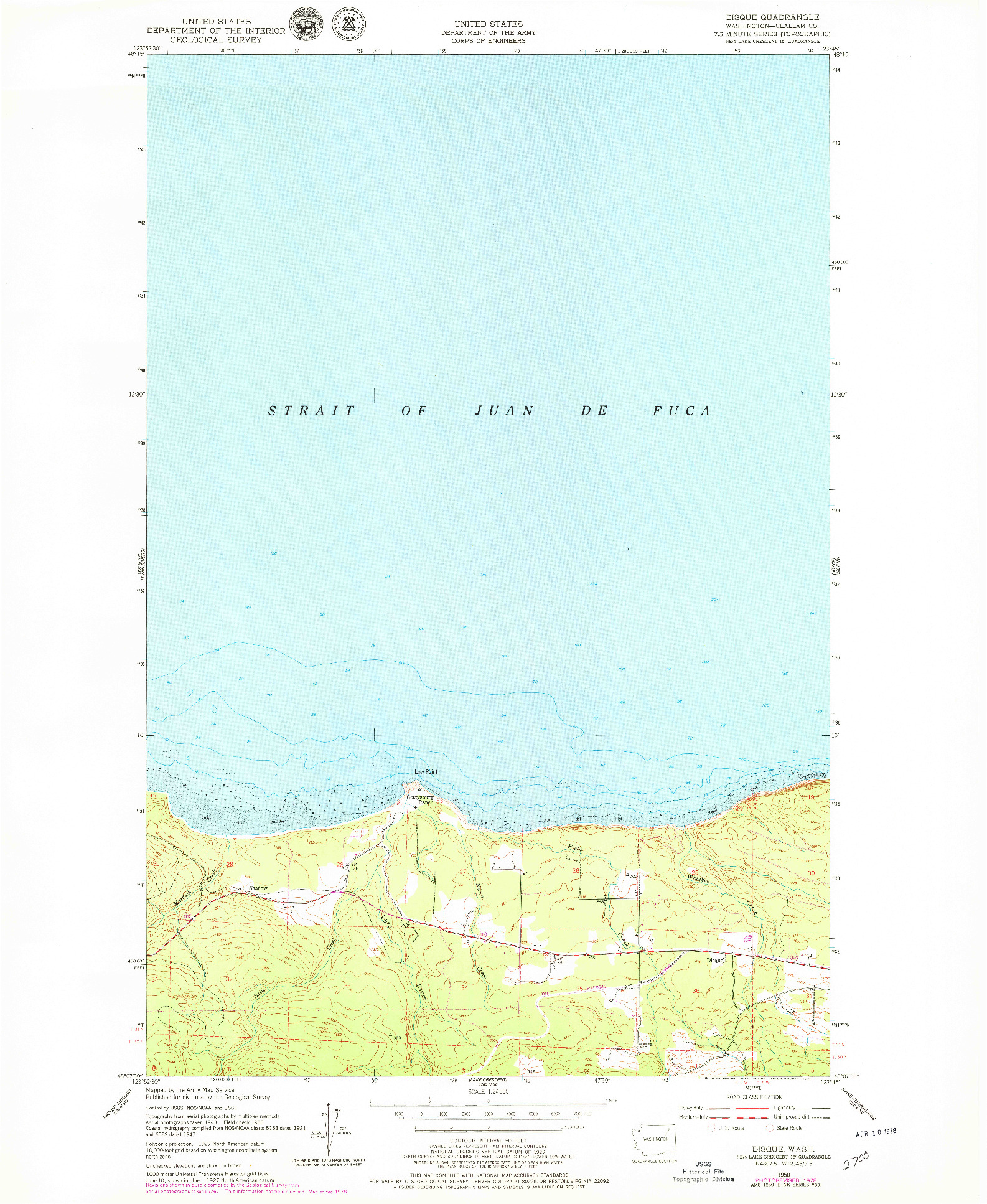 USGS 1:24000-SCALE QUADRANGLE FOR DISQUE, WA 1950
