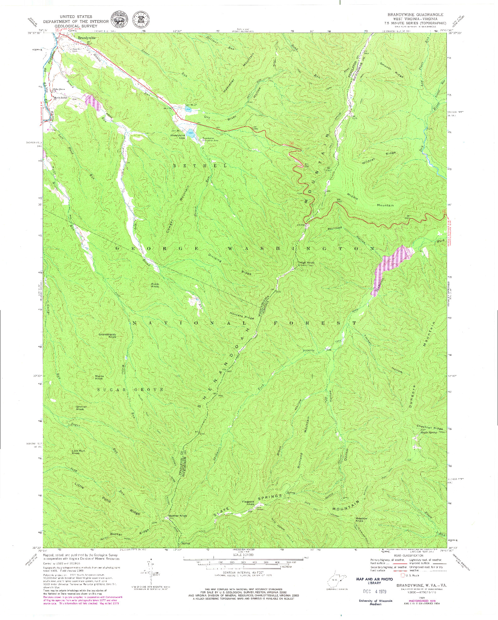 USGS 1:24000-SCALE QUADRANGLE FOR BRANDYWINE, WV 1969