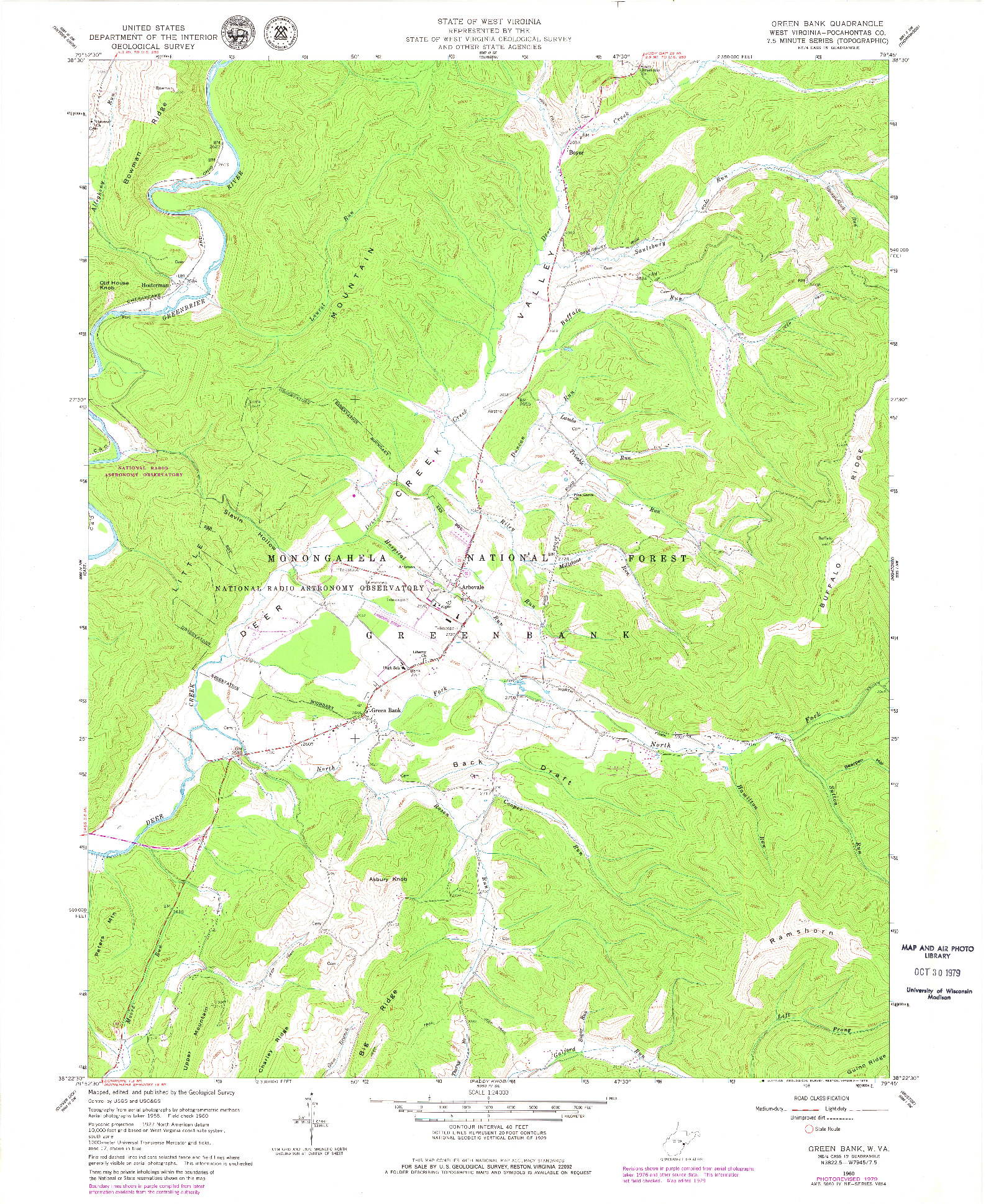 USGS 1:24000-SCALE QUADRANGLE FOR GREEN BANK, WV 1960