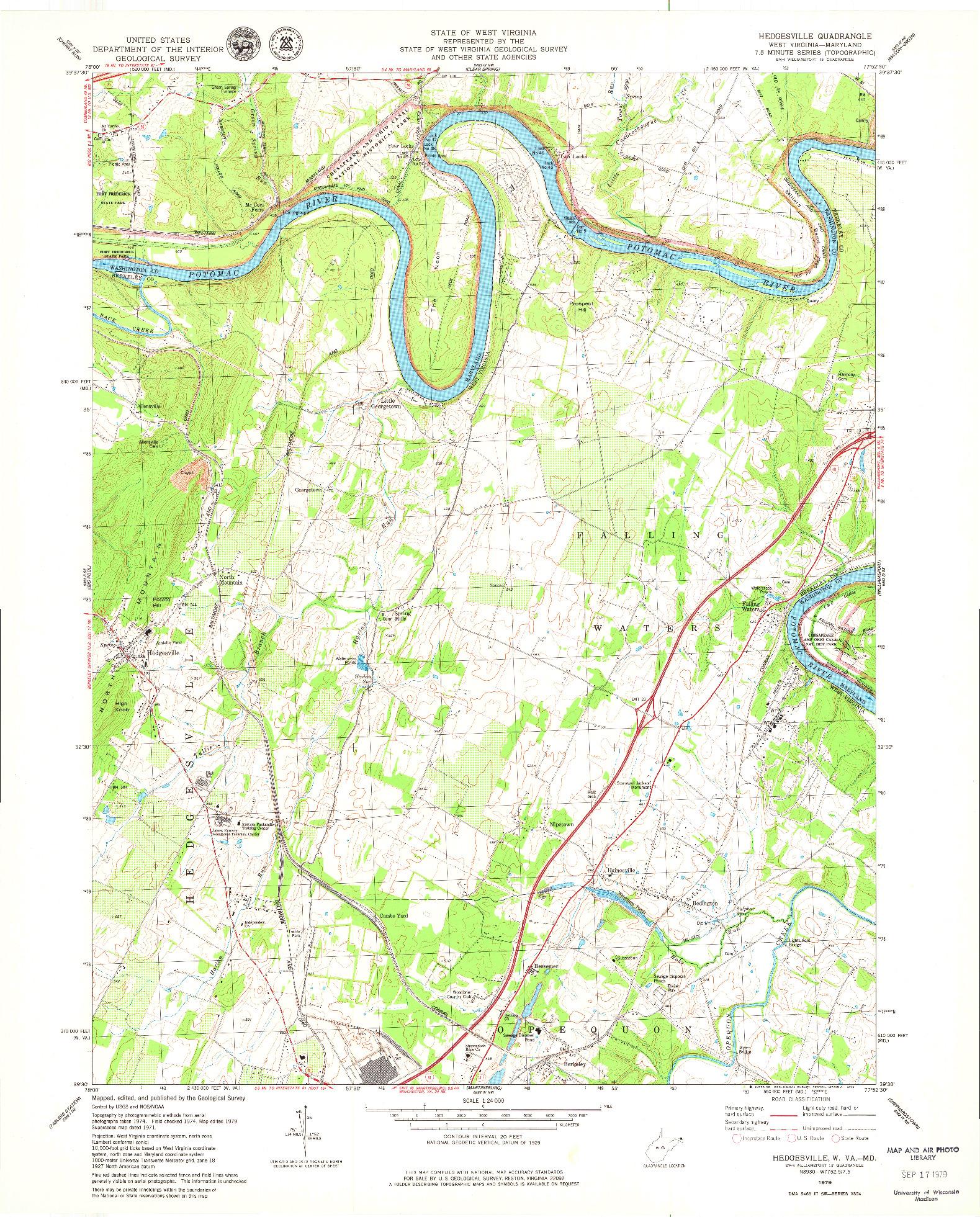USGS 1:24000-SCALE QUADRANGLE FOR HEDGESVILLE, WV 1979