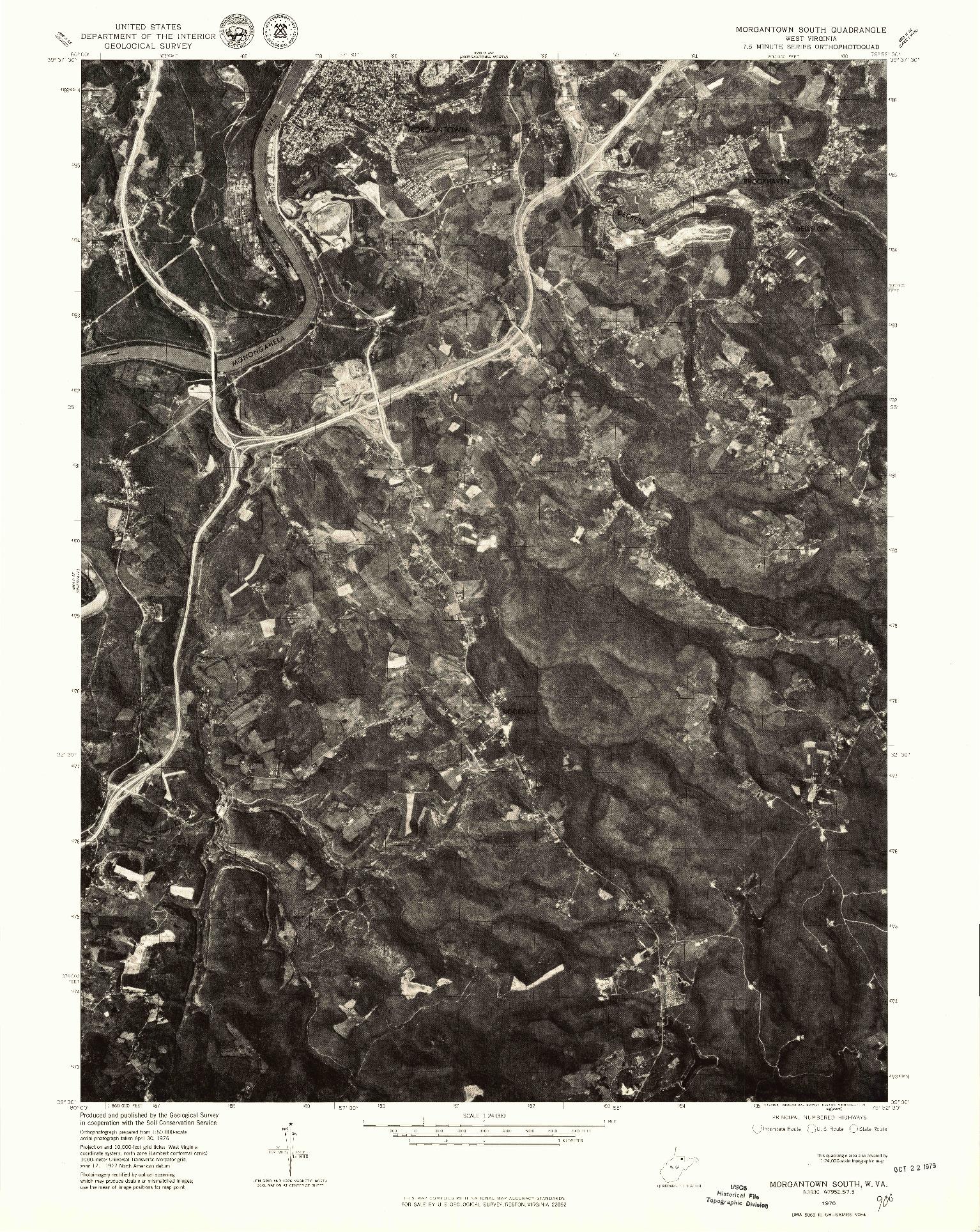 USGS 1:24000-SCALE QUADRANGLE FOR MORGANTOWN SOUTH, WV 1976