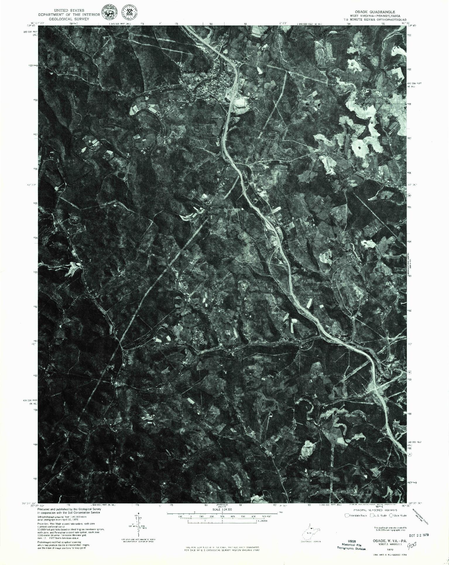 USGS 1:24000-SCALE QUADRANGLE FOR OSAGE, WV 1976