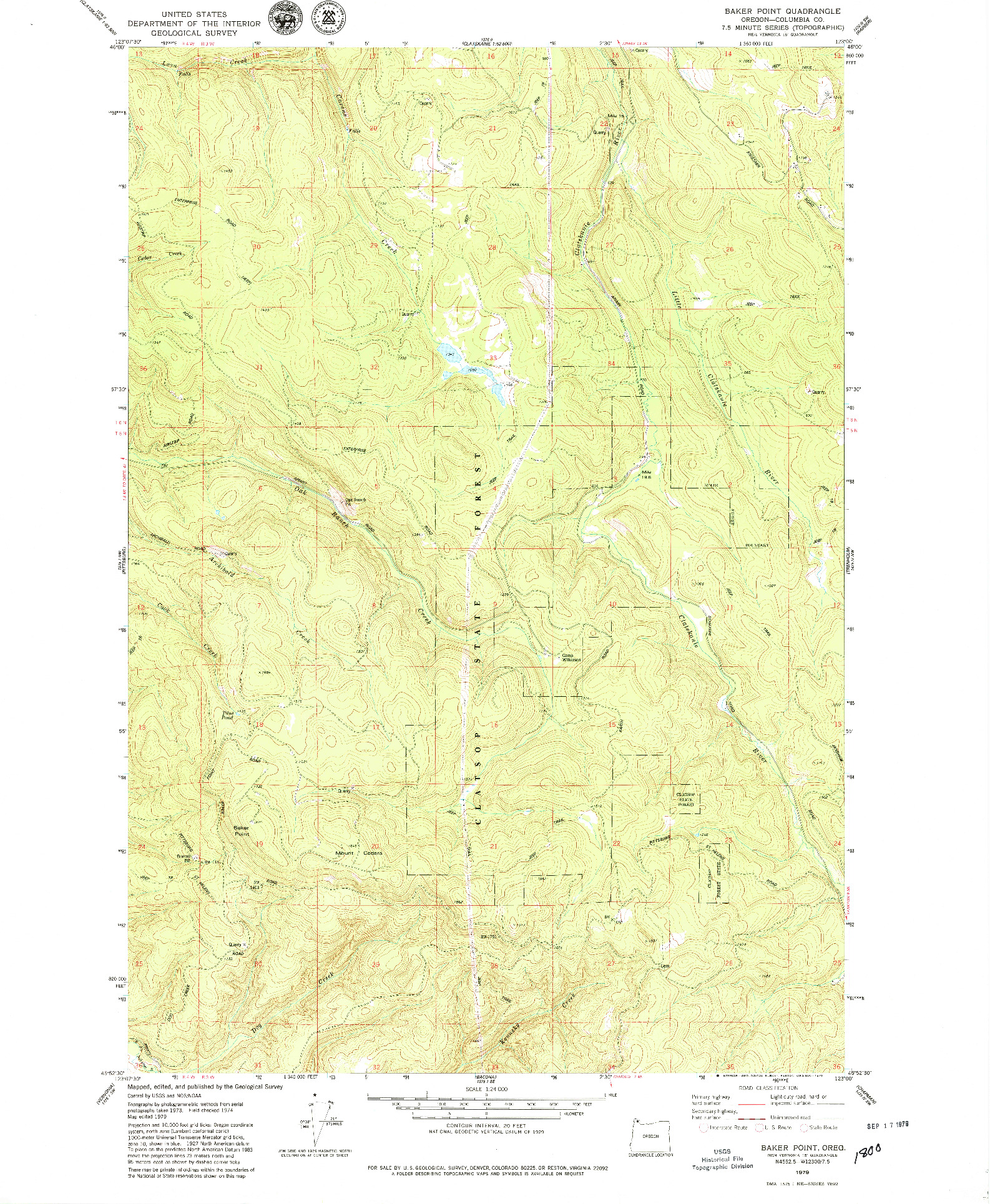 USGS 1:24000-SCALE QUADRANGLE FOR BAKER POINT, OR 1979