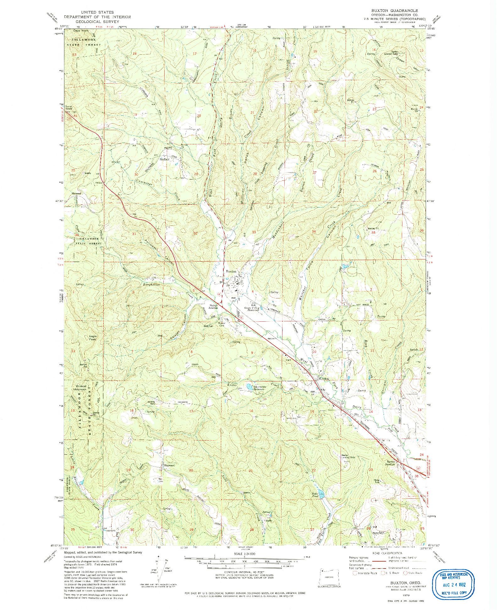USGS 1:24000-SCALE QUADRANGLE FOR BUXTON, OR 1979