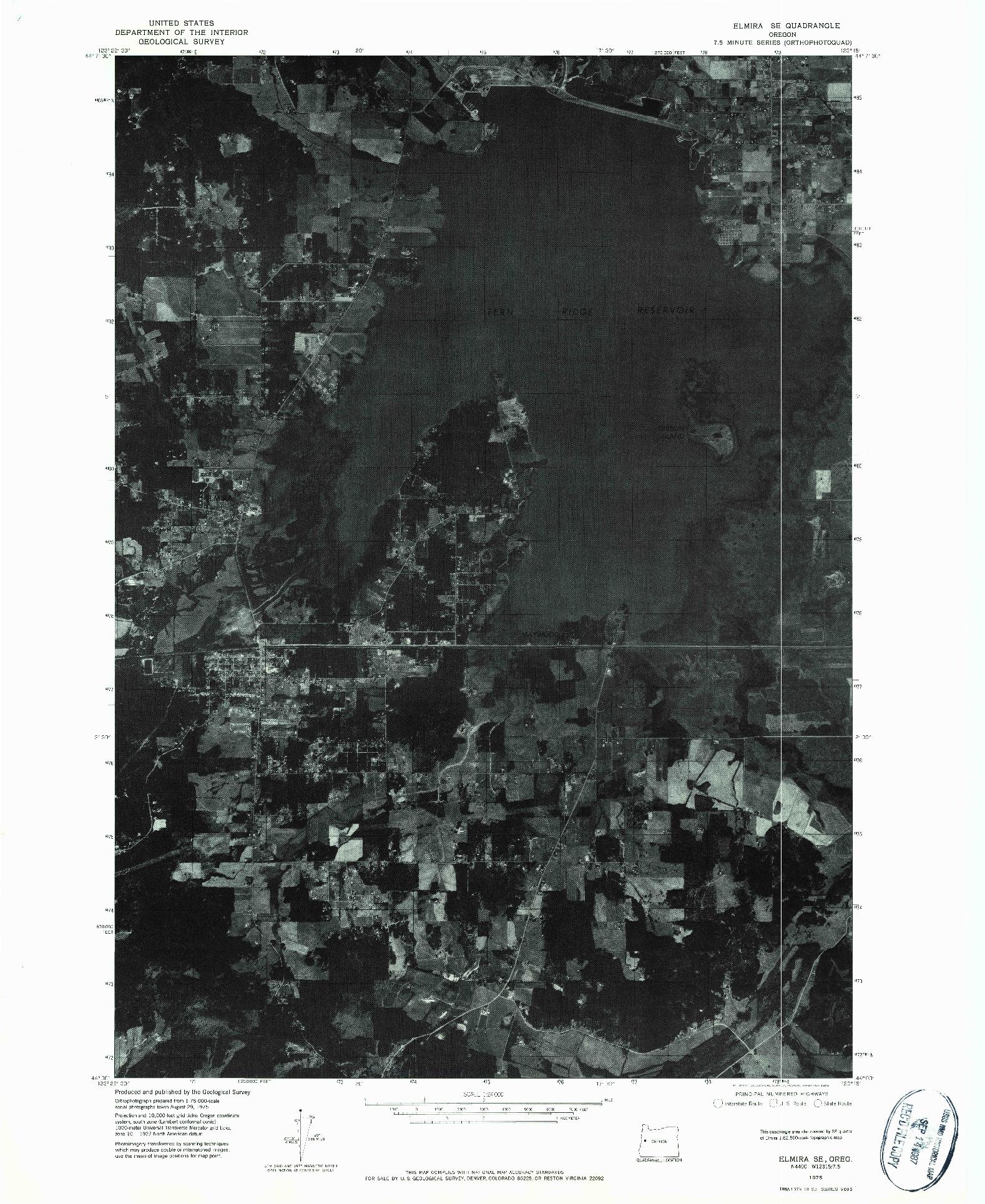 USGS 1:24000-SCALE QUADRANGLE FOR ELMIRA SE, OR 1975