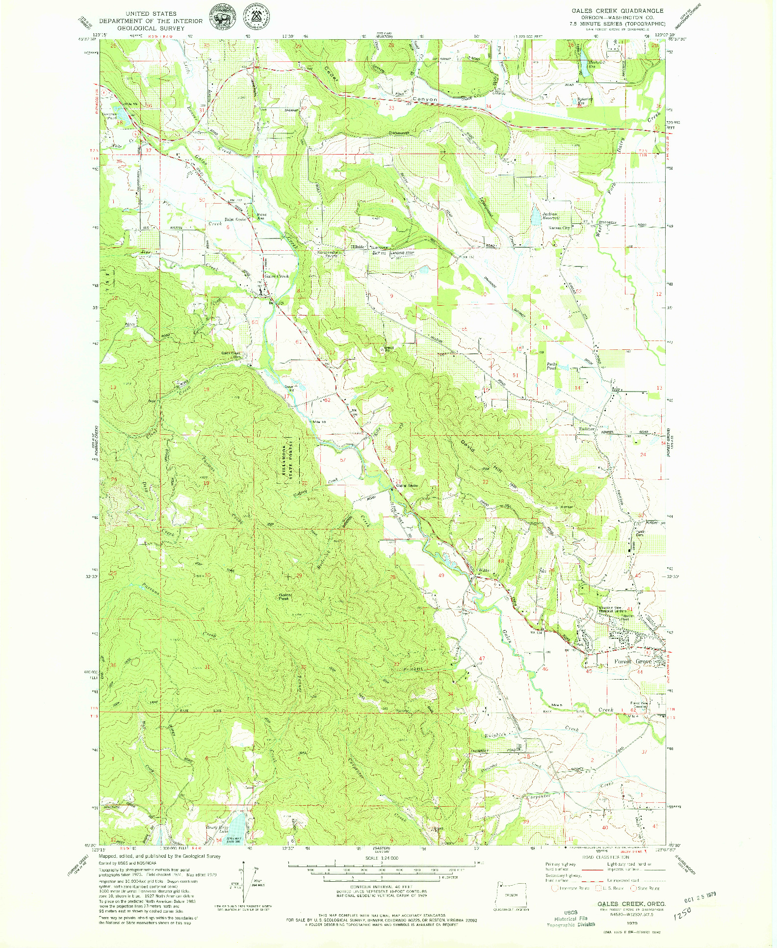 USGS 1:24000-SCALE QUADRANGLE FOR GALES CREEK, OR 1979