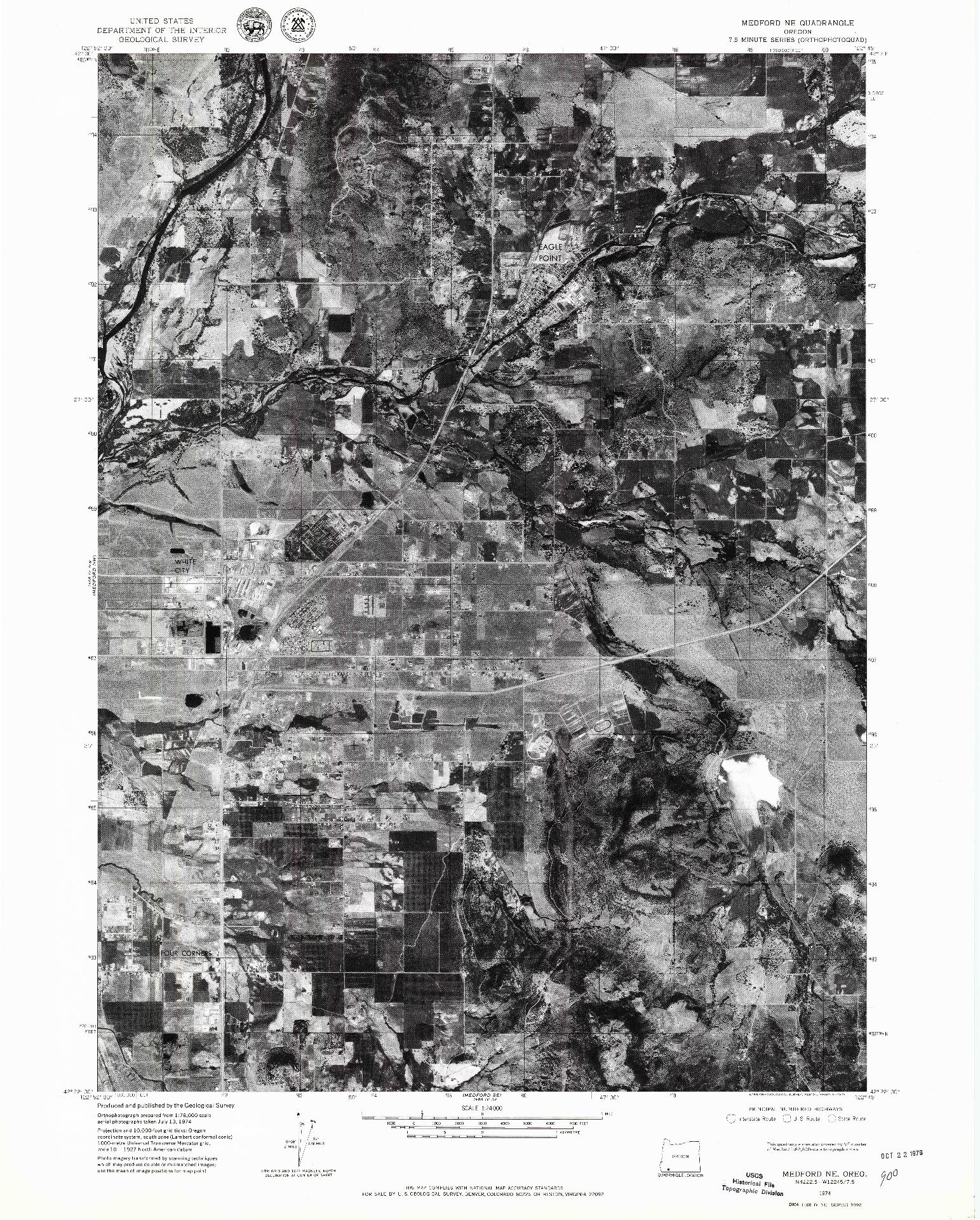 USGS 1:24000-SCALE QUADRANGLE FOR MEDFORD NE, OR 1974