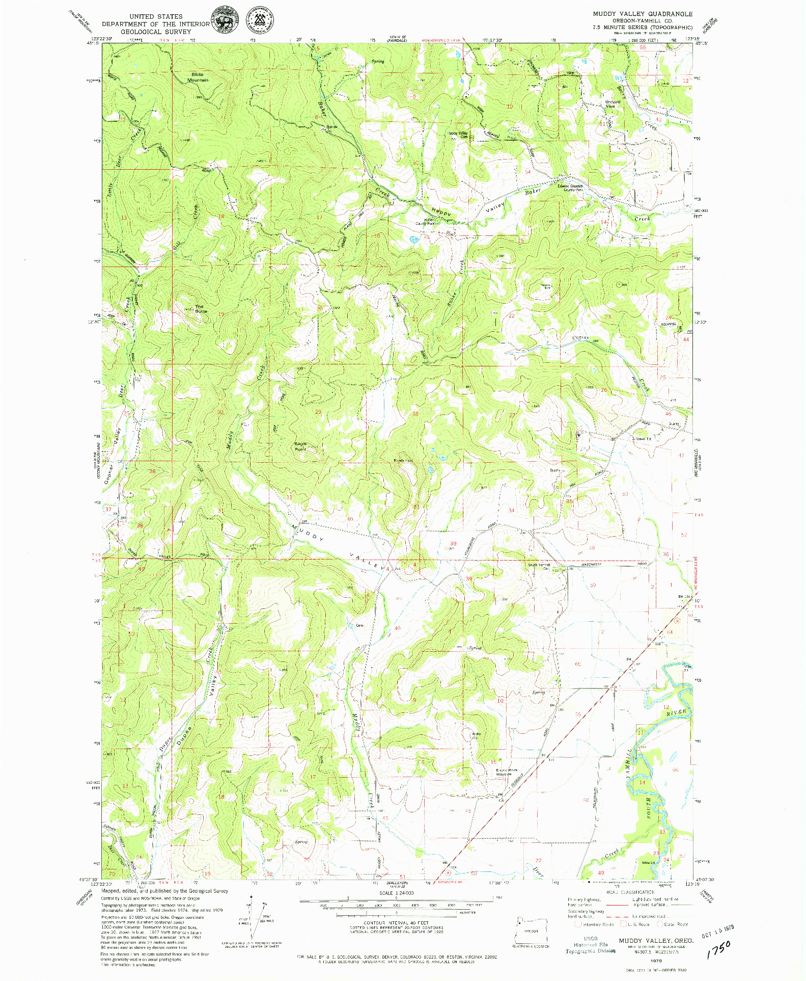 USGS 1:24000-SCALE QUADRANGLE FOR MUDDY VALLEY, OR 1979