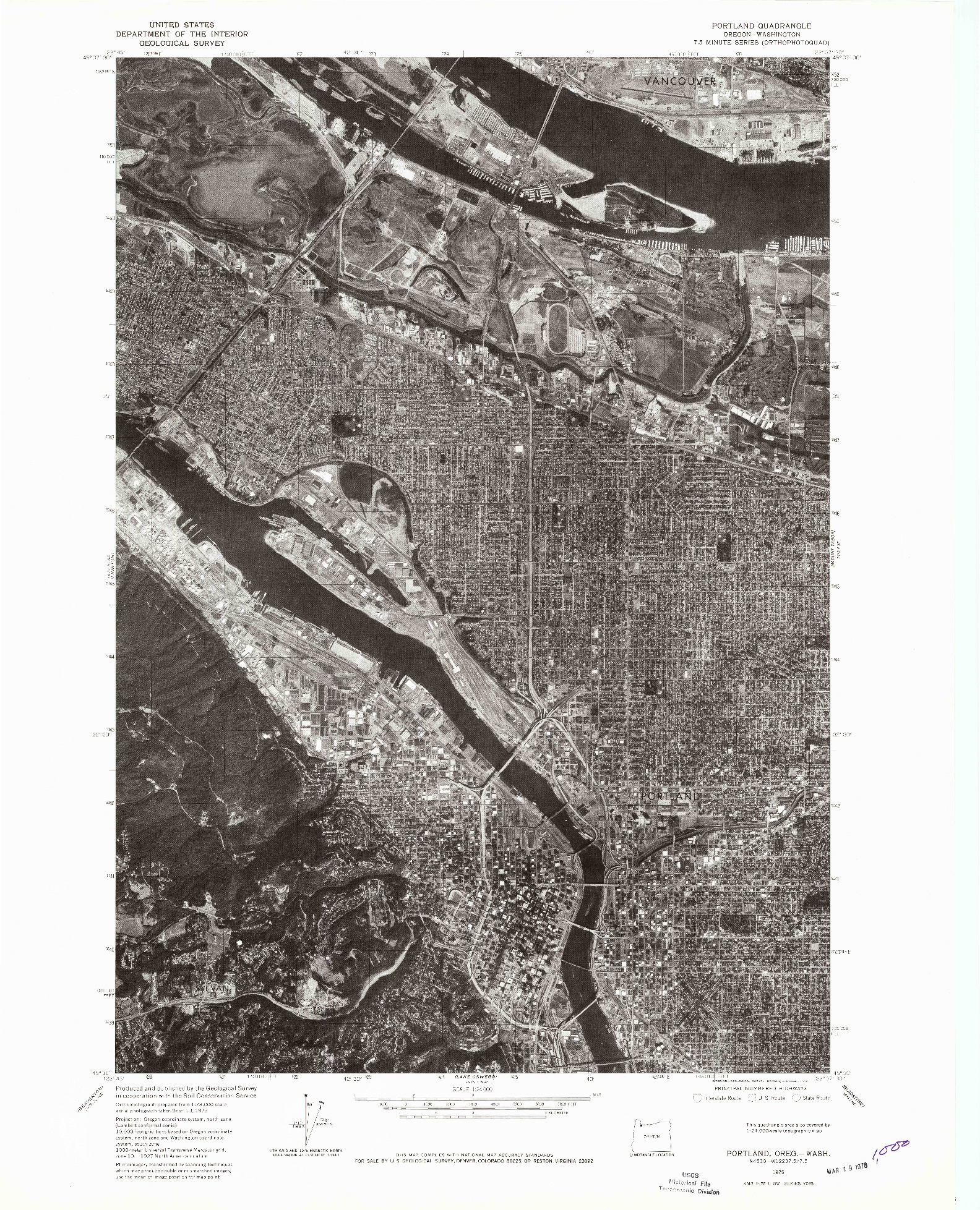 USGS 1:24000-SCALE QUADRANGLE FOR PORTLAND, OR 1975