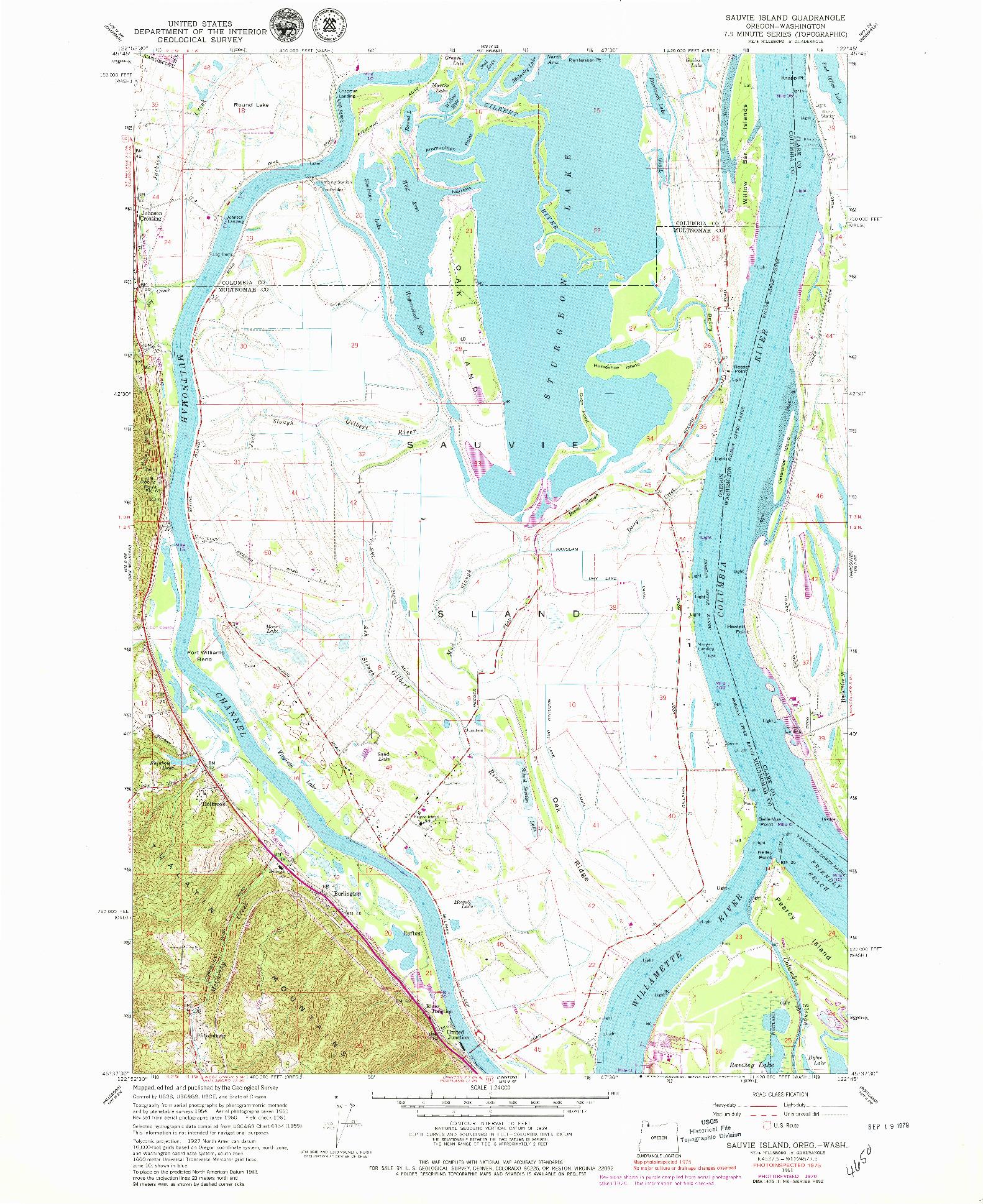 USGS 1:24000-SCALE QUADRANGLE FOR SAUVIE ISLAND, OR 1961