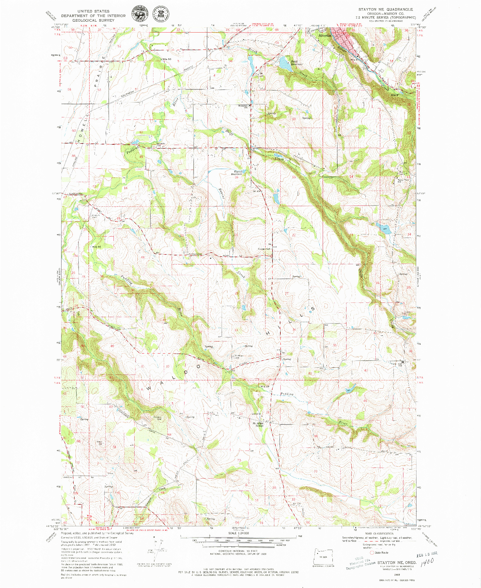 USGS 1:24000-SCALE QUADRANGLE FOR STAYTON NE, OR 1969