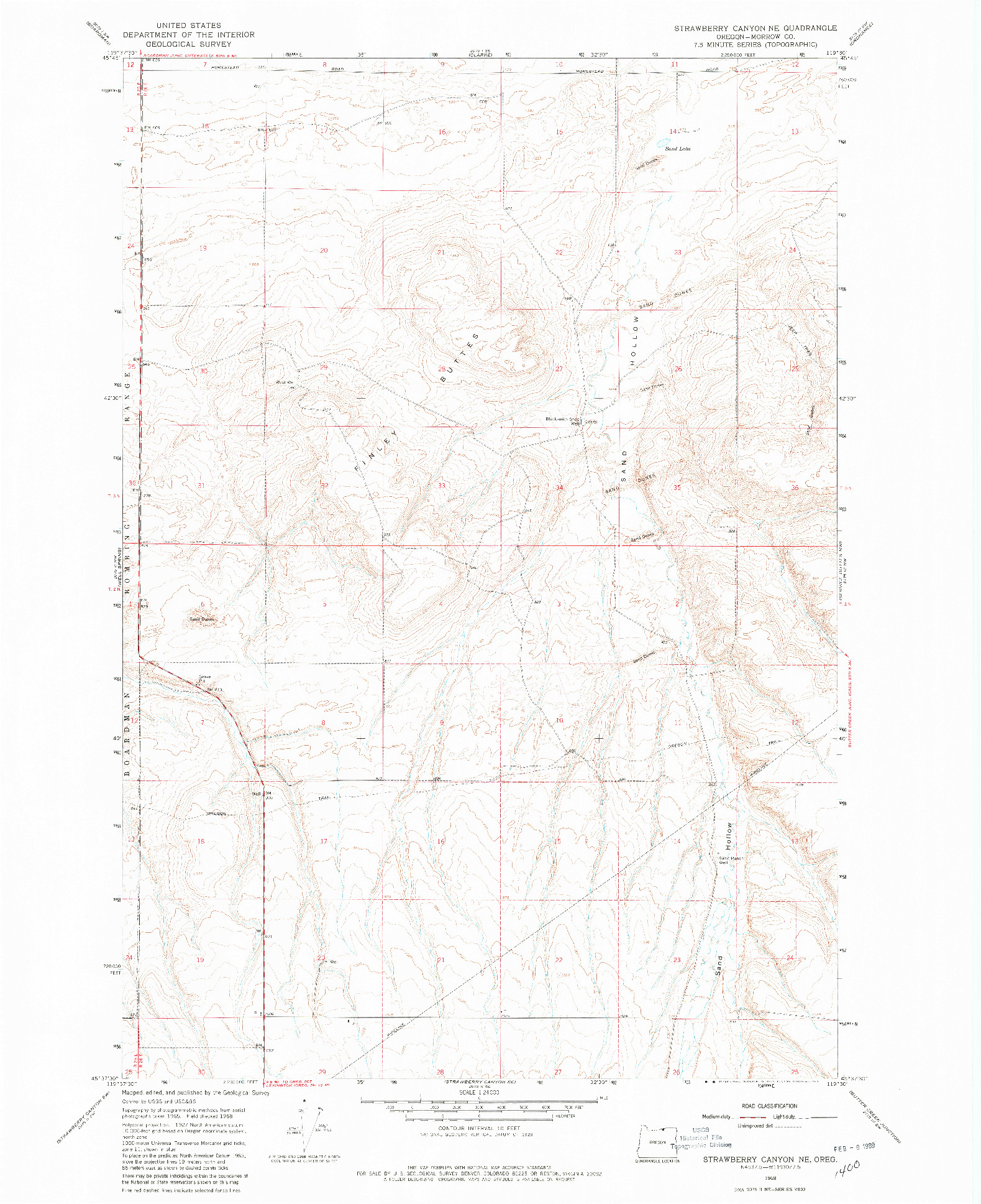 USGS 1:24000-SCALE QUADRANGLE FOR STRAWBERRY CANYON NE, OR 1968