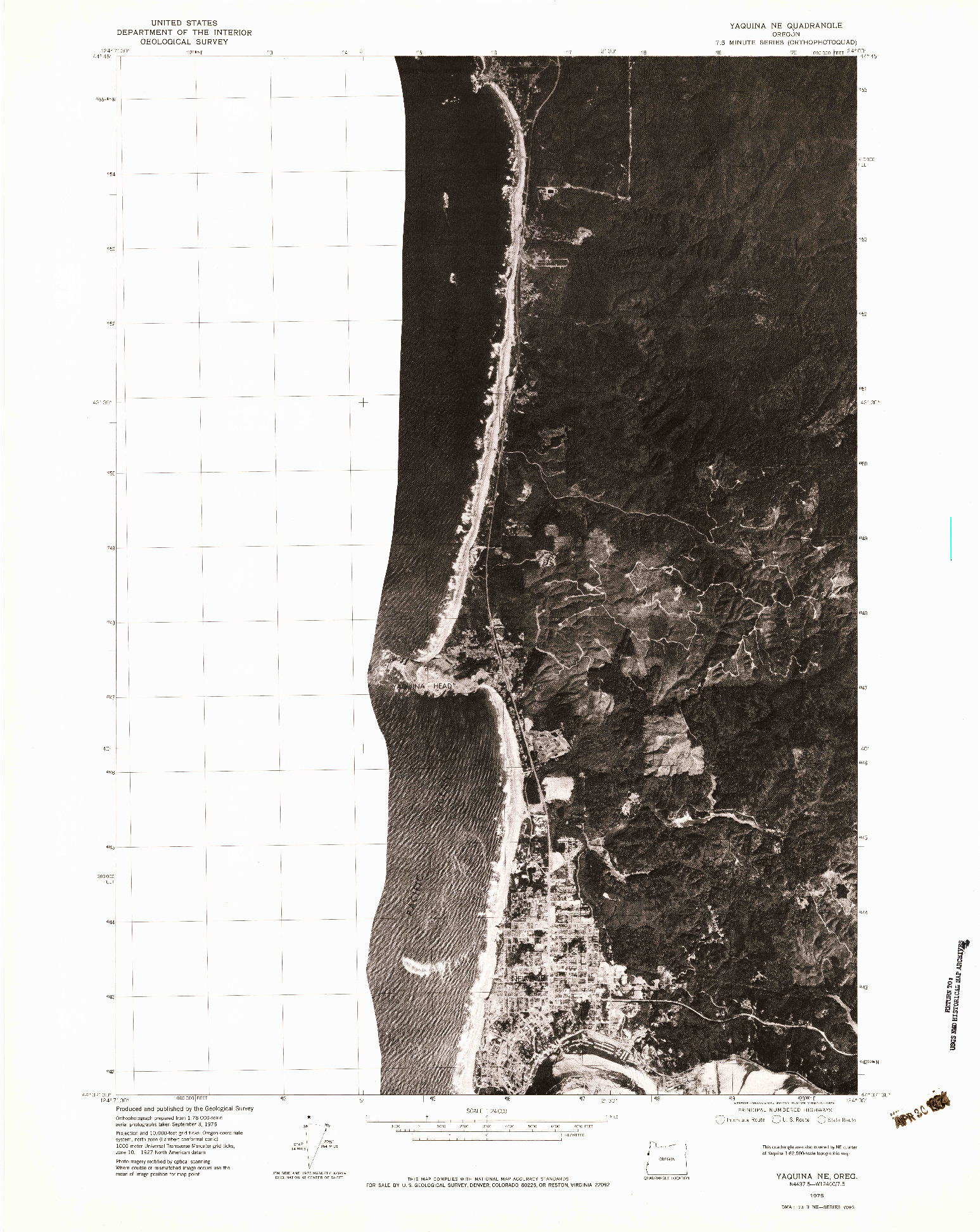 USGS 1:24000-SCALE QUADRANGLE FOR YAQUINA NE, OR 1975