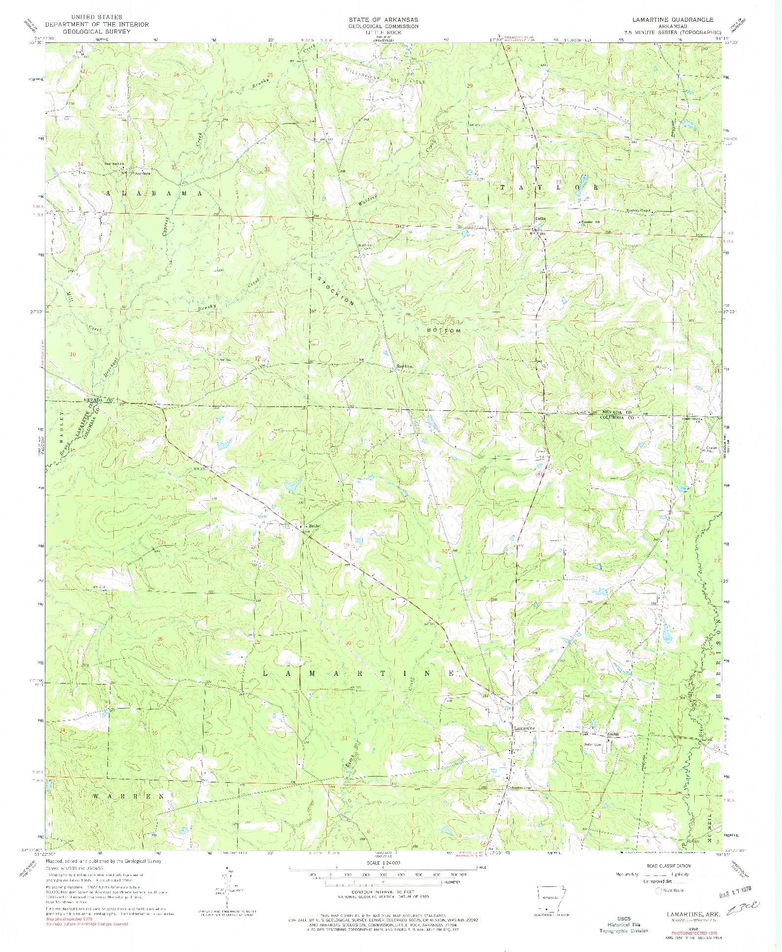 USGS 1:24000-SCALE QUADRANGLE FOR LAMARTINE, AR 1968