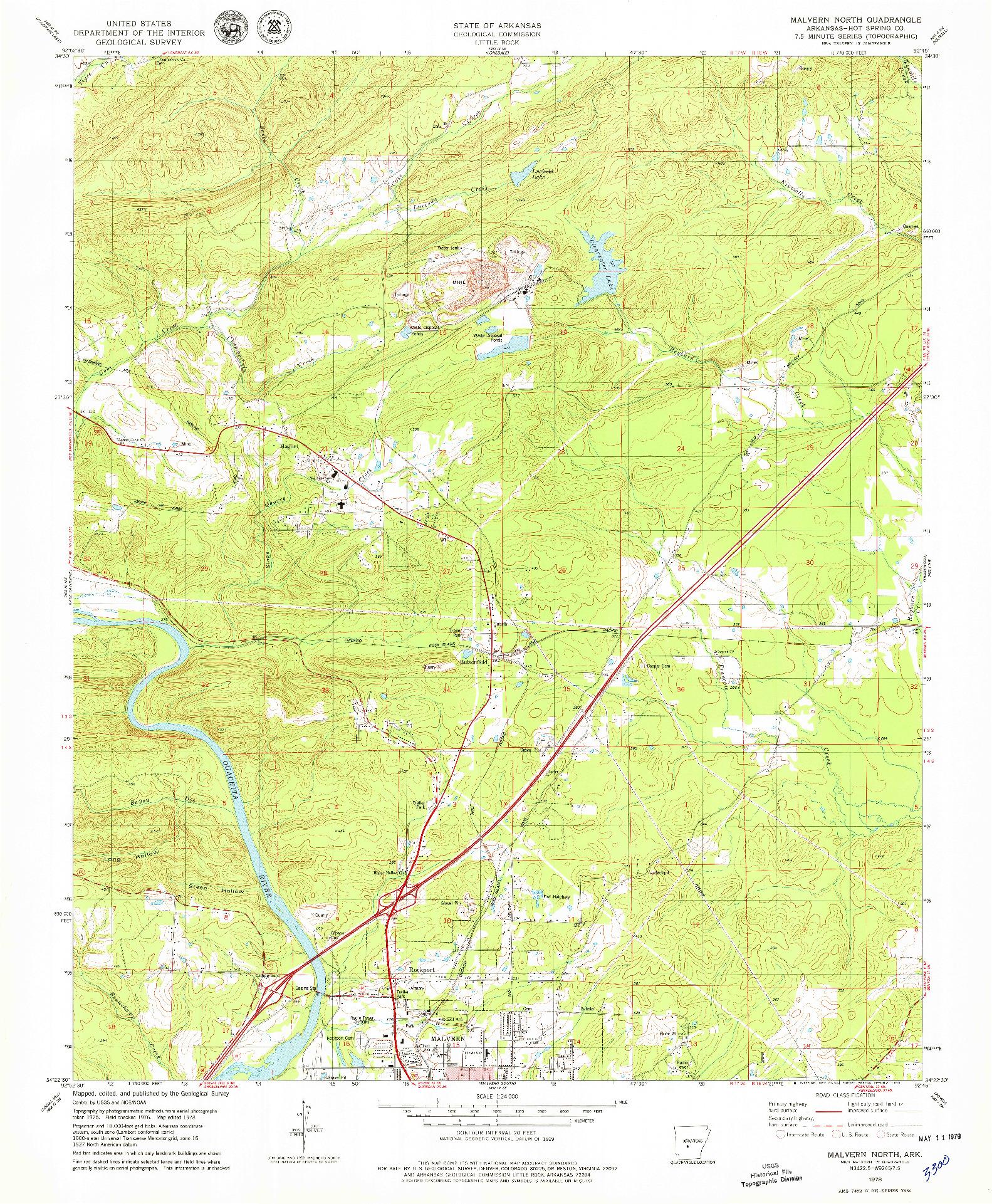 USGS 1:24000-SCALE QUADRANGLE FOR MALVERN NORTH, AR 1978