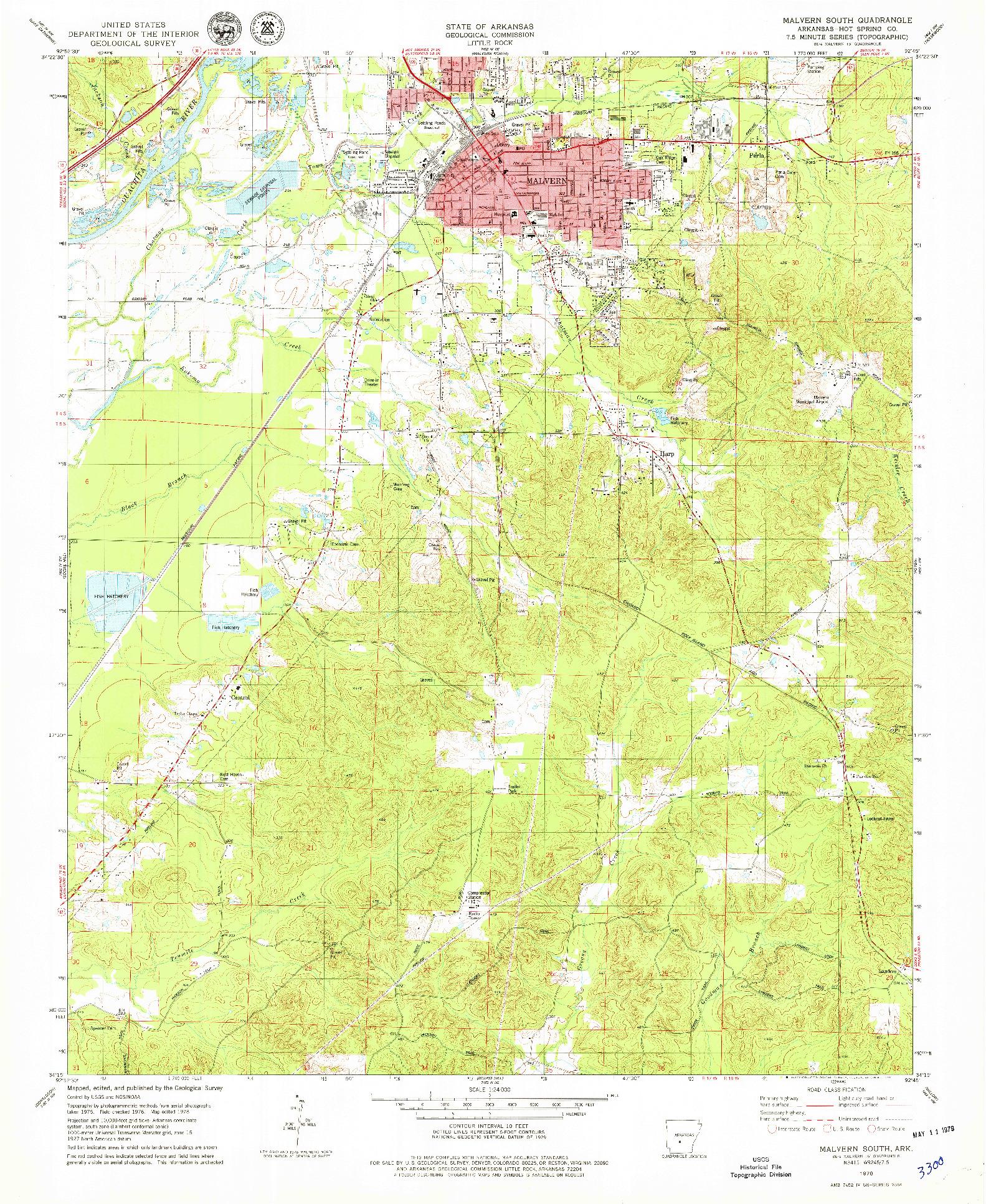 USGS 1:24000-SCALE QUADRANGLE FOR MALVERN SOUTH, AR 1978