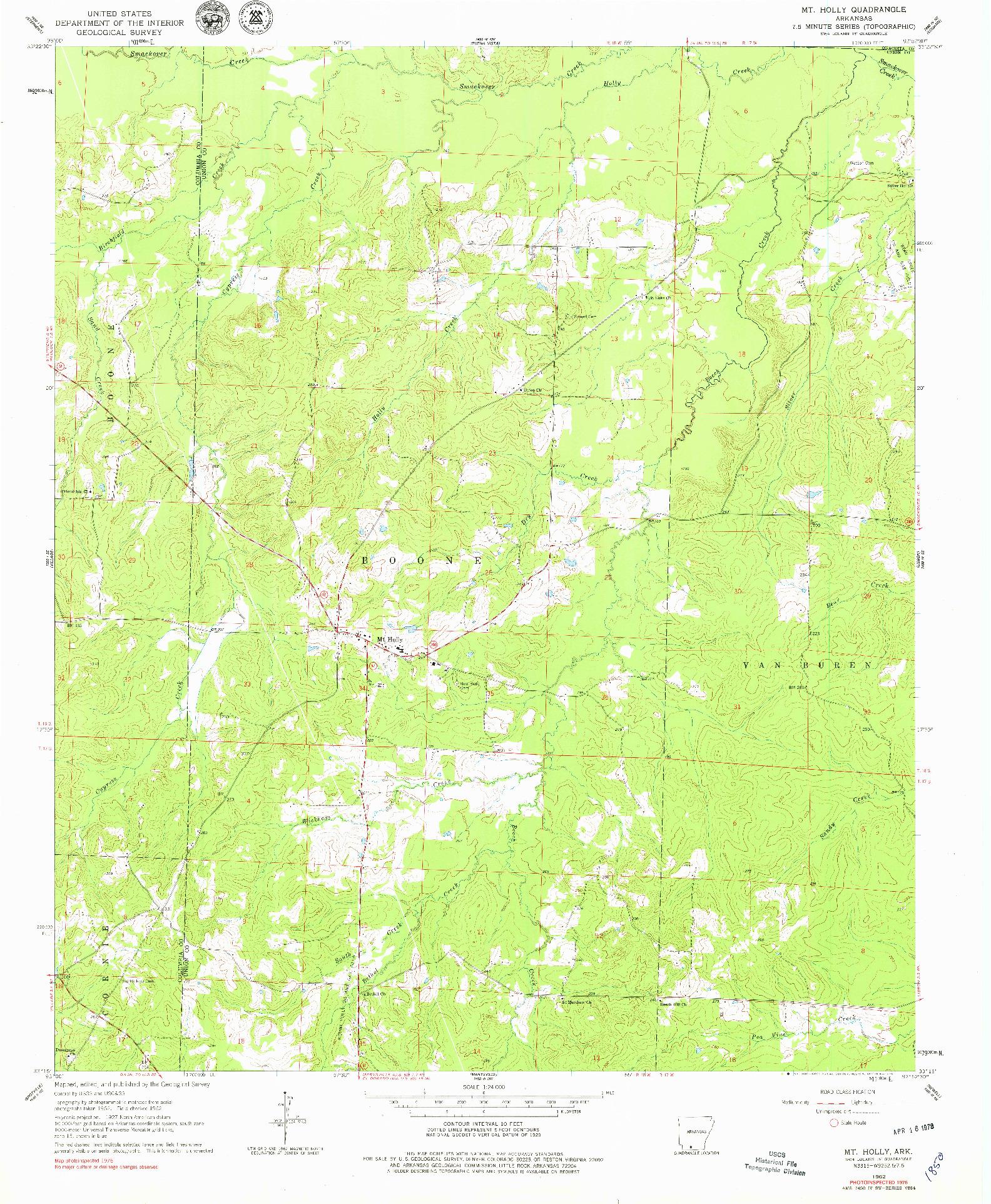 USGS 1:24000-SCALE QUADRANGLE FOR MT HOLLY, AR 1962