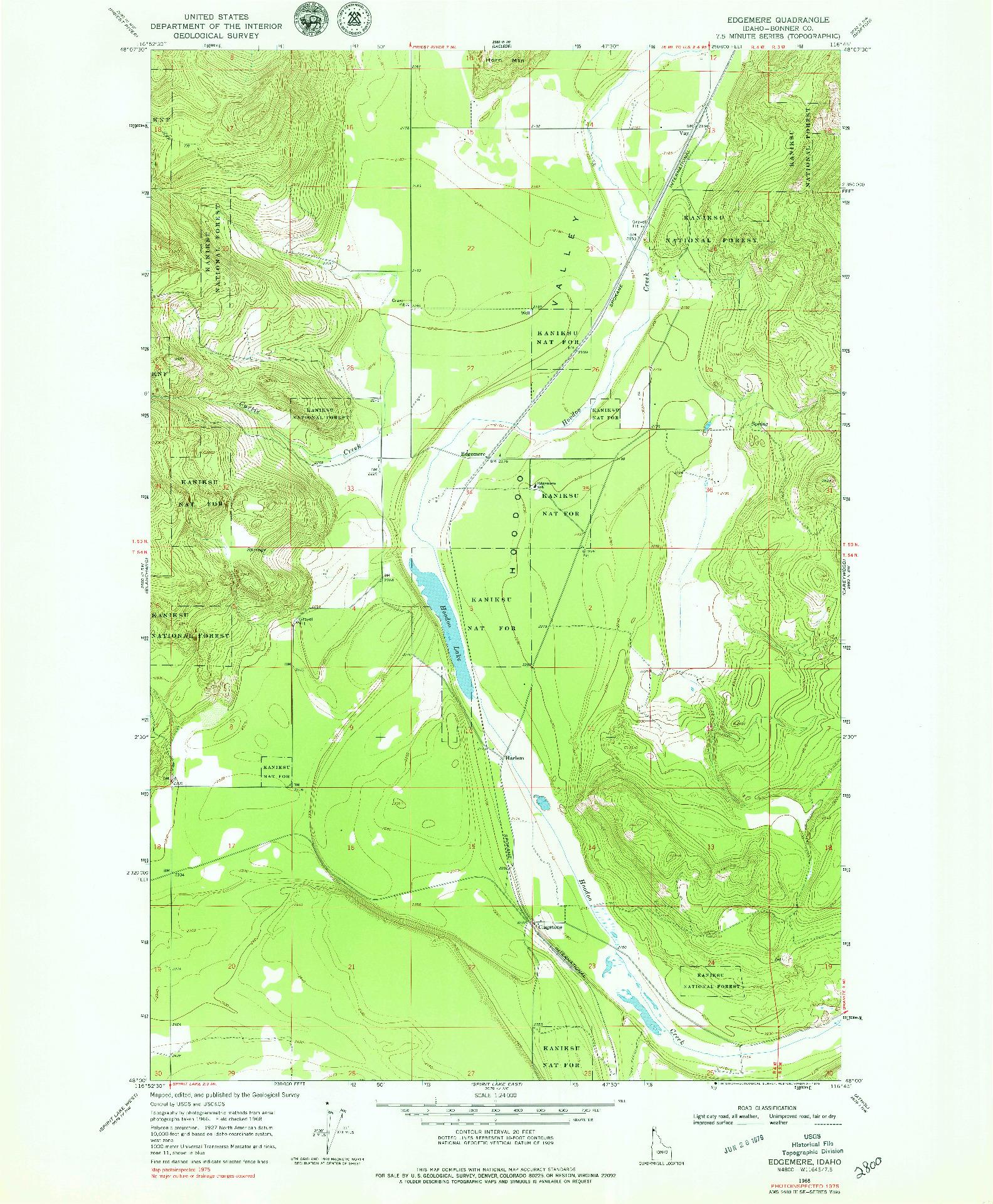 USGS 1:24000-SCALE QUADRANGLE FOR EDGEMERE, ID 1968