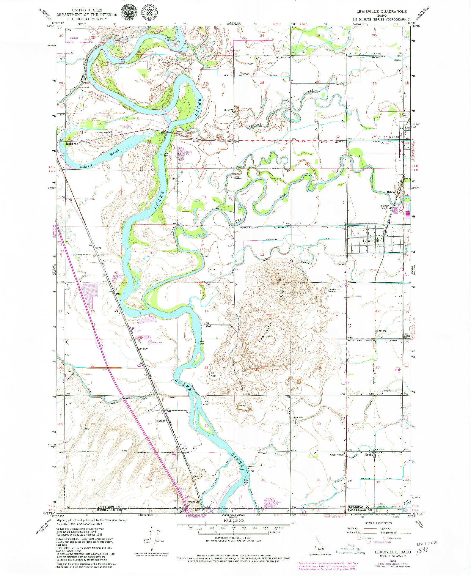 USGS 1:24000-SCALE QUADRANGLE FOR LEWISVILLE, ID 1948