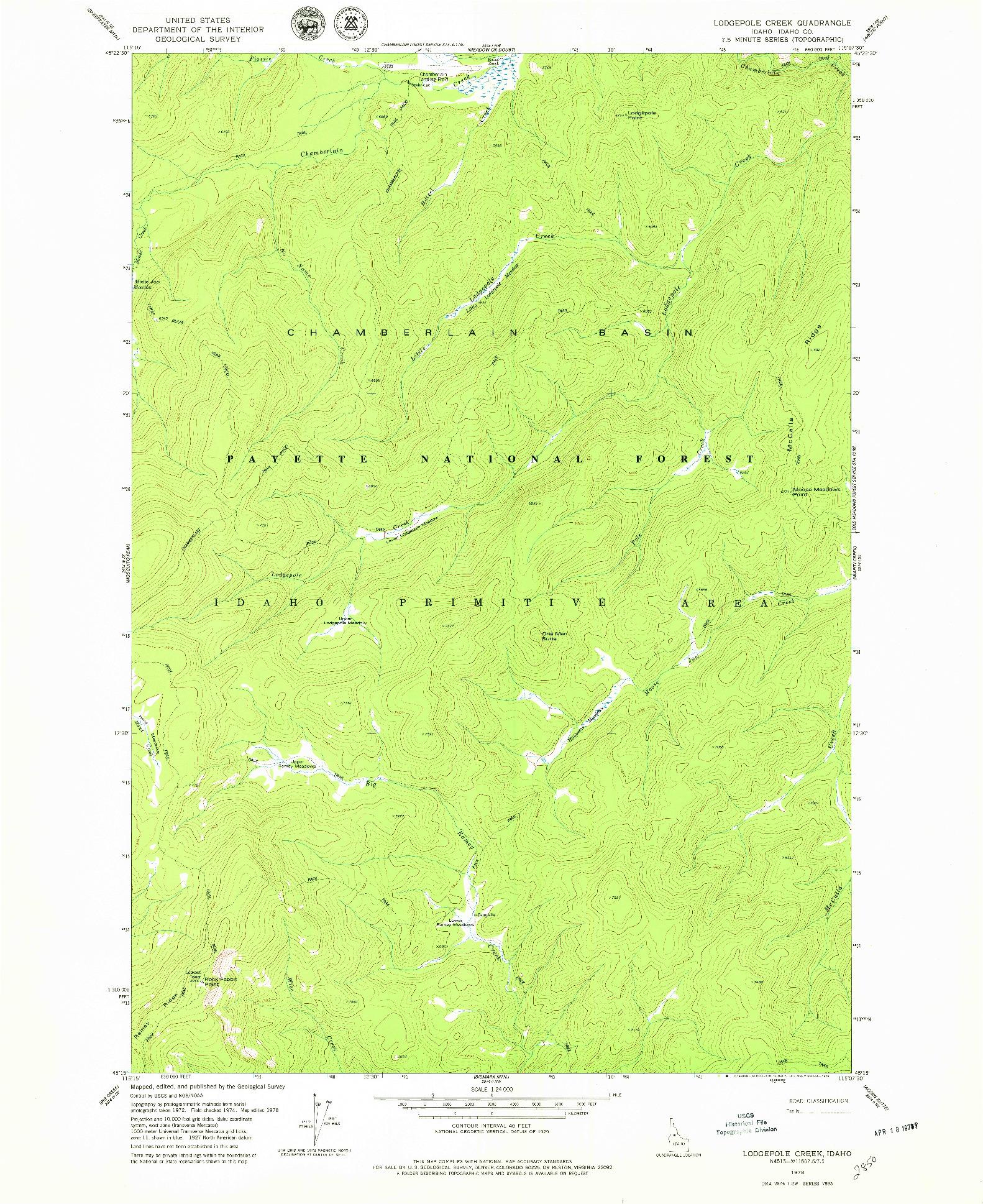 USGS 1:24000-SCALE QUADRANGLE FOR LODGEPOLE CREEK, ID 1978