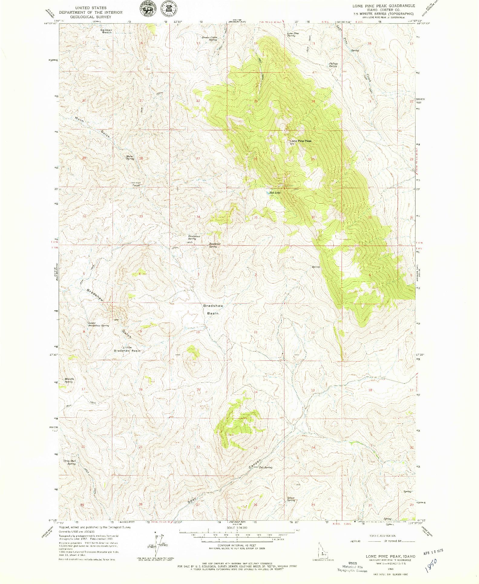 USGS 1:24000-SCALE QUADRANGLE FOR LONE PINE PEAK, ID 1963