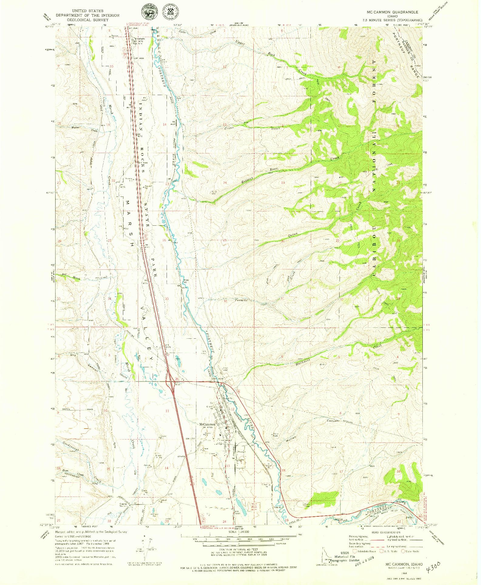 USGS 1:24000-SCALE QUADRANGLE FOR MC CAMMON, ID 1968