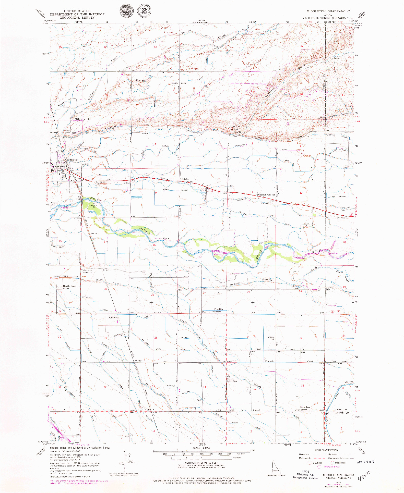 USGS 1:24000-SCALE QUADRANGLE FOR MIDDLETON, ID 1958