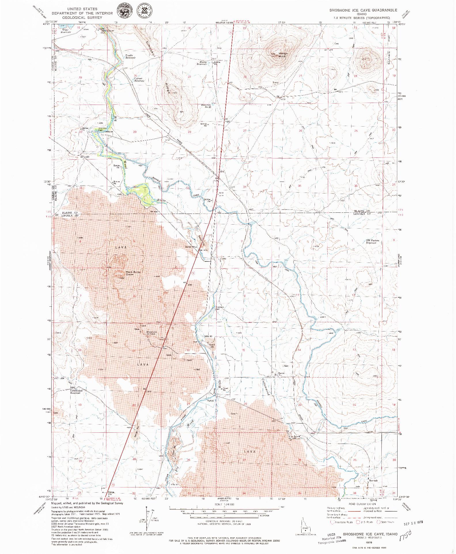 USGS 1:24000-SCALE QUADRANGLE FOR SHOSHONE ICE CAVE, ID 1979