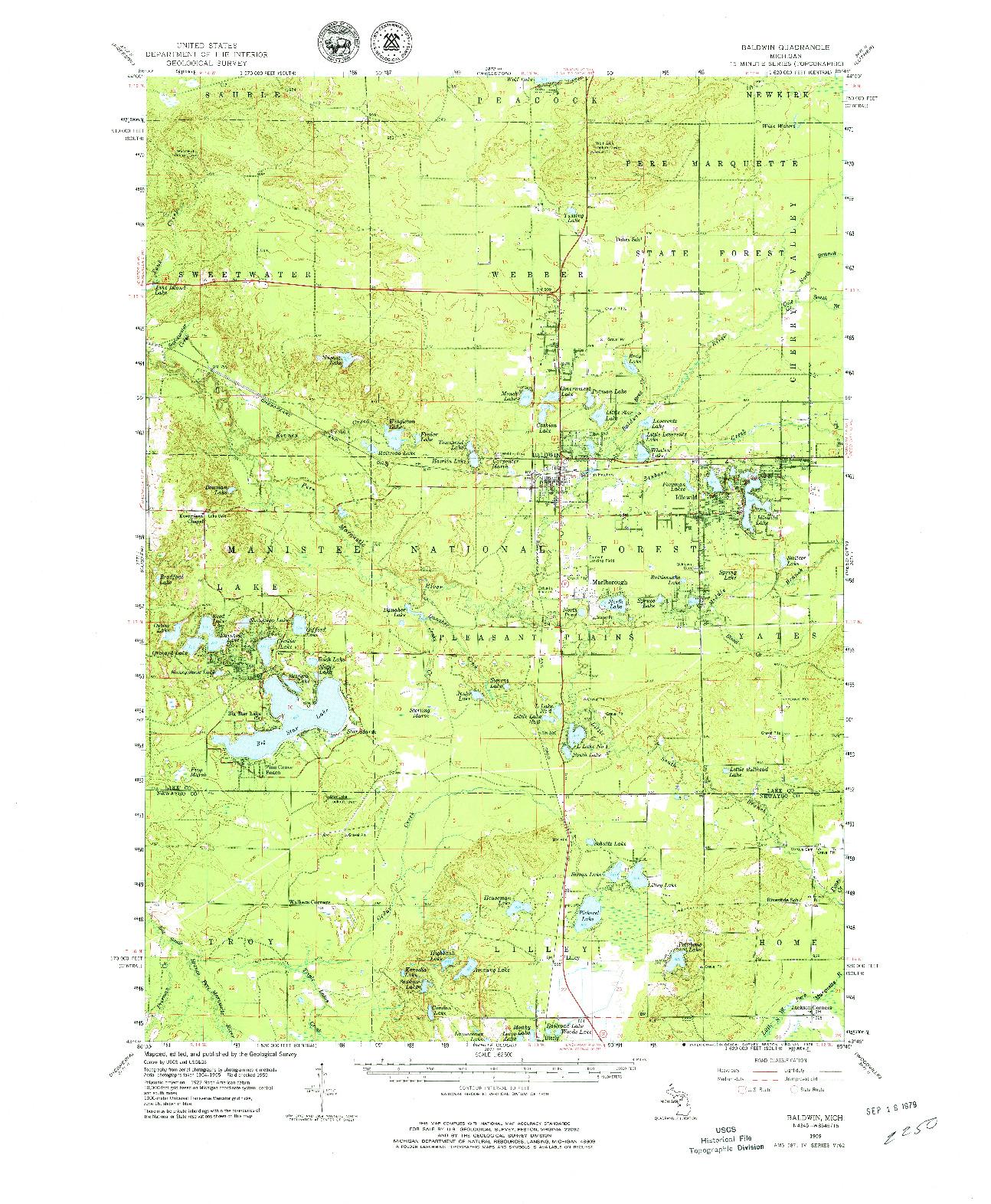 USGS 1:62500-SCALE QUADRANGLE FOR BALDWIN, MI 1959