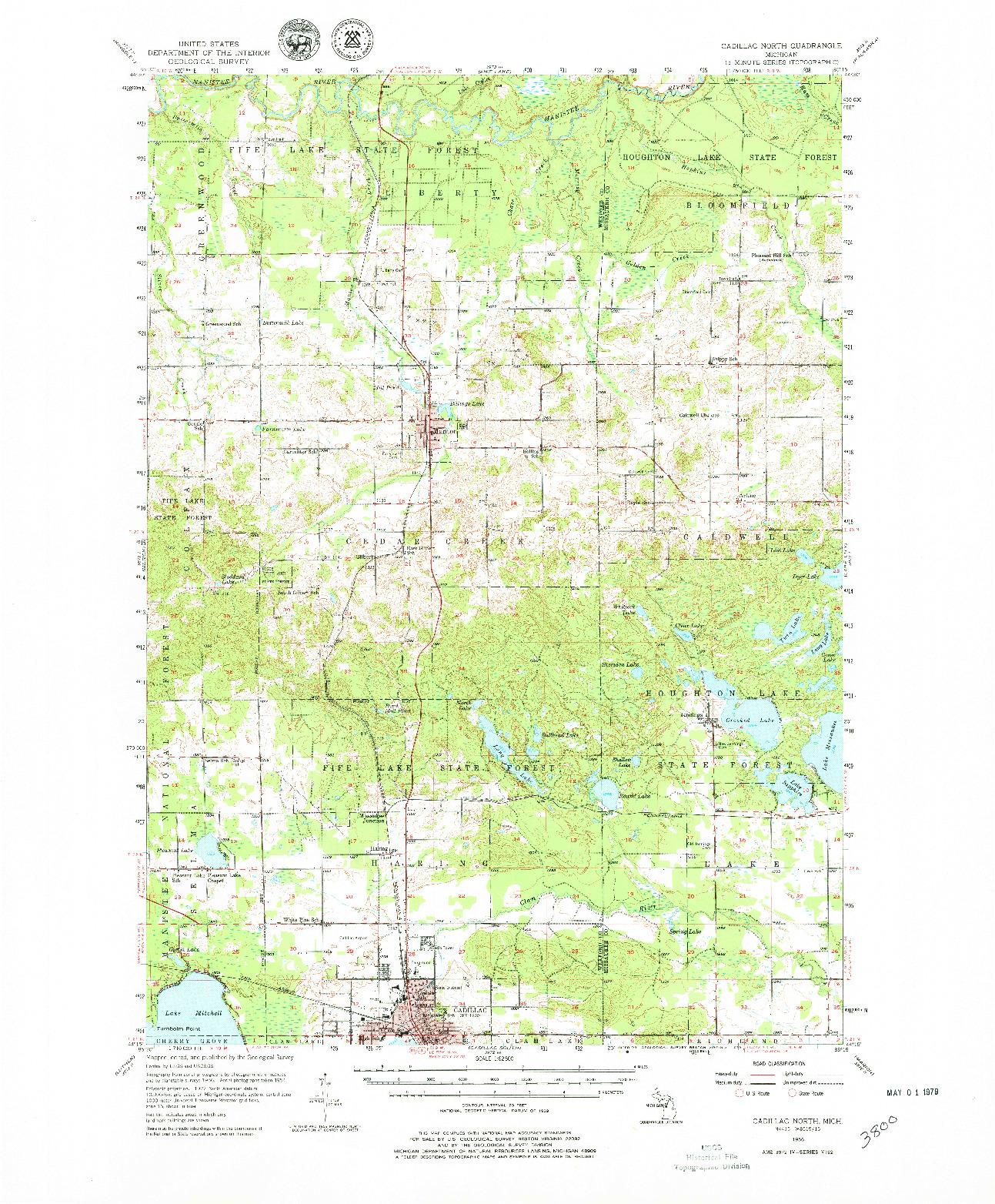 USGS 1:62500-SCALE QUADRANGLE FOR CADILLAC NORTH, MI 1956