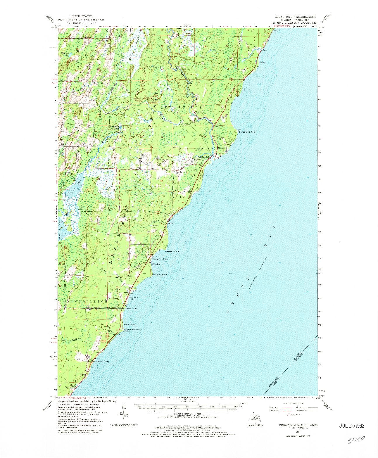 USGS 1:62500-SCALE QUADRANGLE FOR CEDAR RIVER, MI 1963
