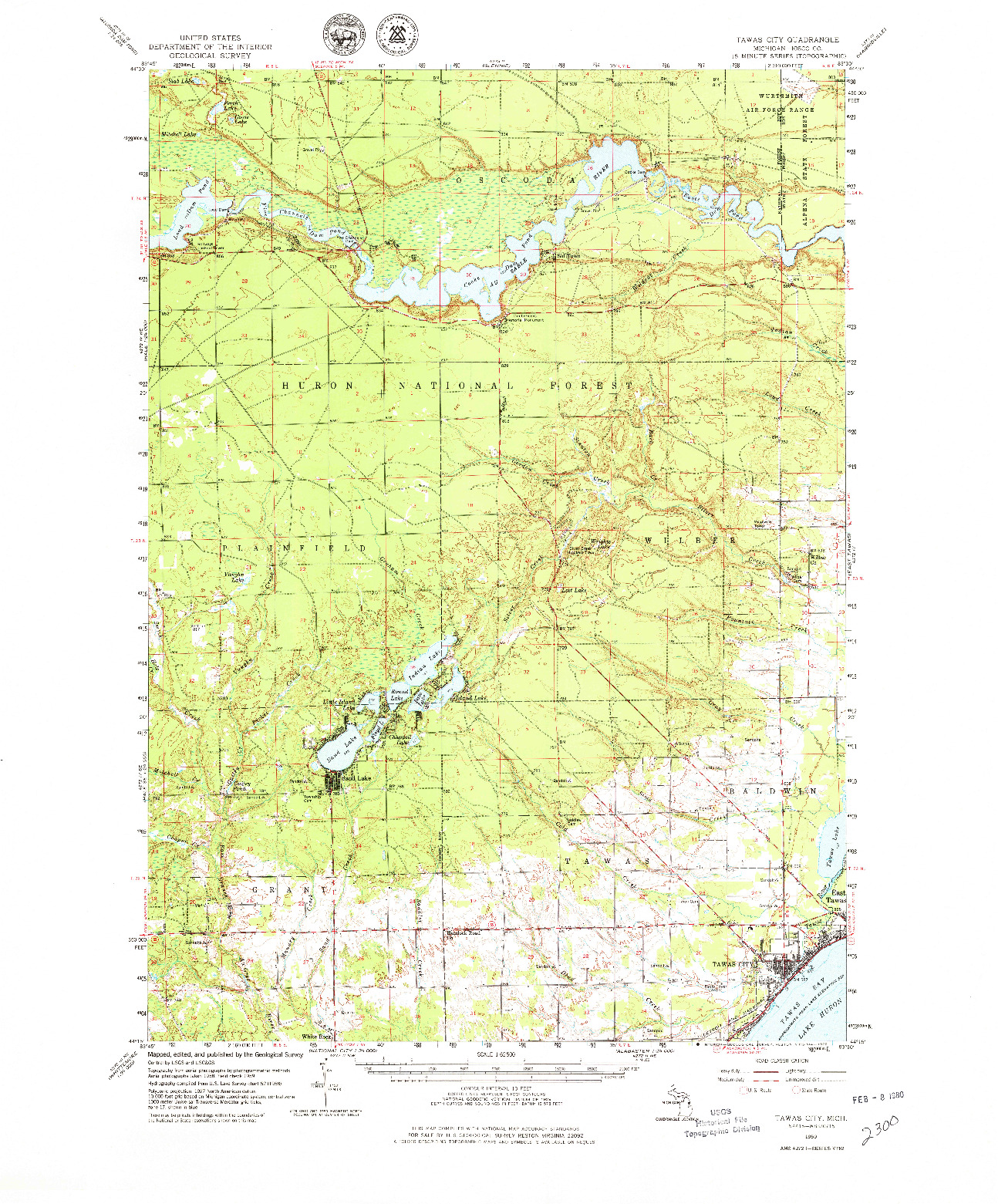 USGS 1:62500-SCALE QUADRANGLE FOR TAWAS CITY, MI 1959