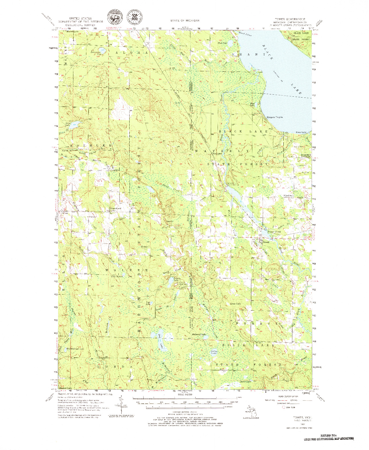 USGS 1:62500-SCALE QUADRANGLE FOR TOWER, MI 1957