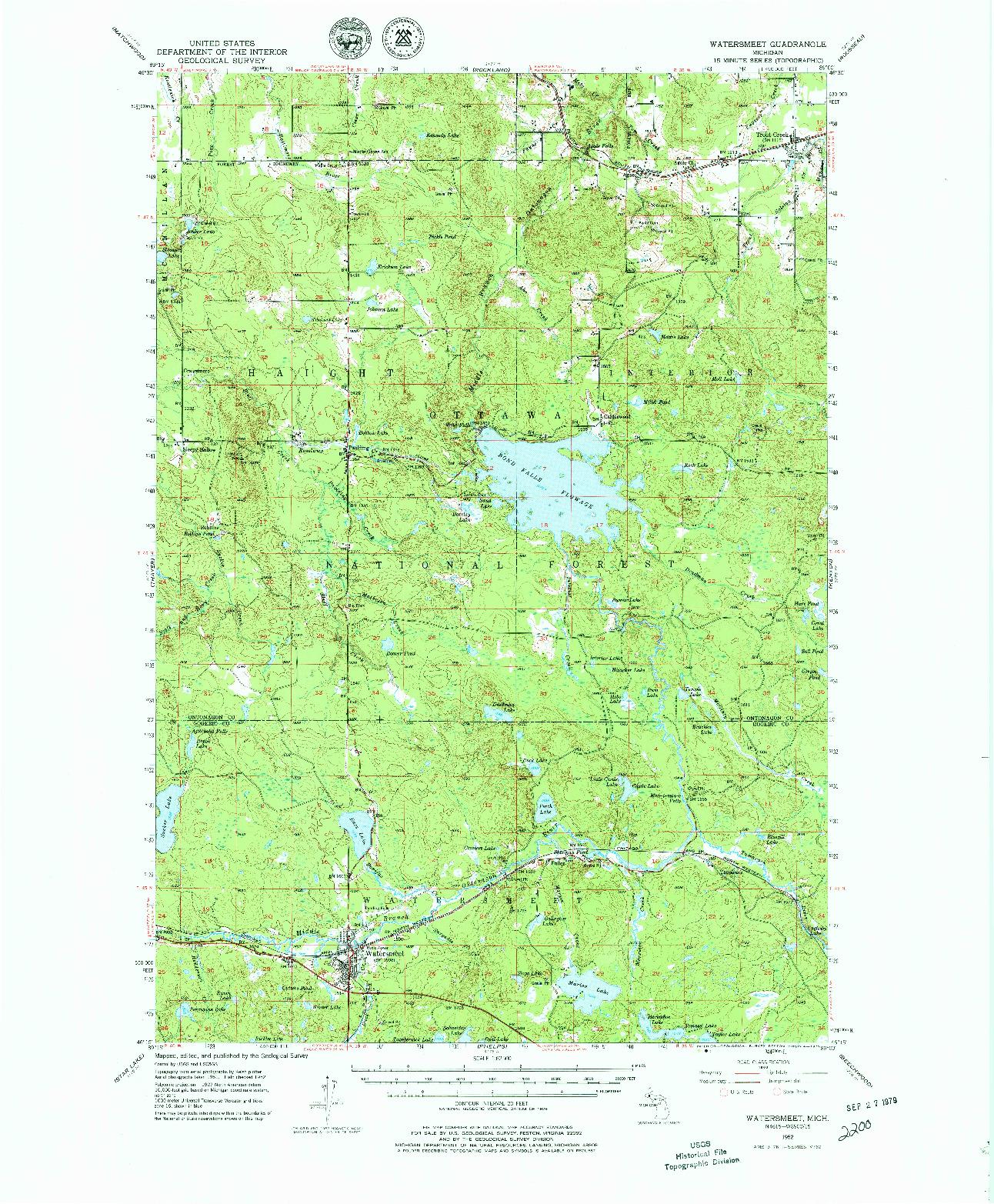 USGS 1:62500-SCALE QUADRANGLE FOR WATERSMEET, MI 1952