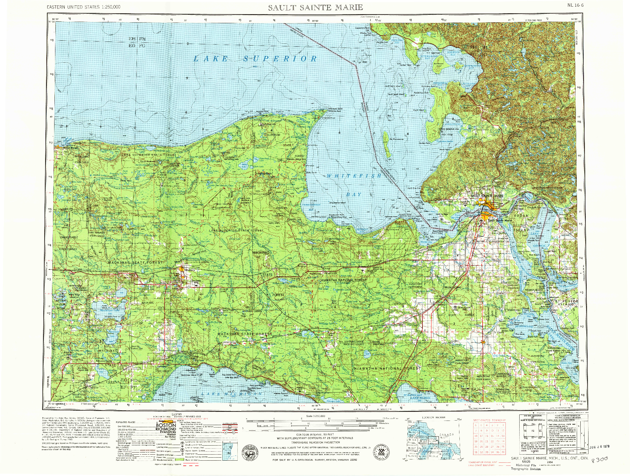 USGS 1:250000-SCALE QUADRANGLE FOR SAULT SAINTE MARIE, MI 1954