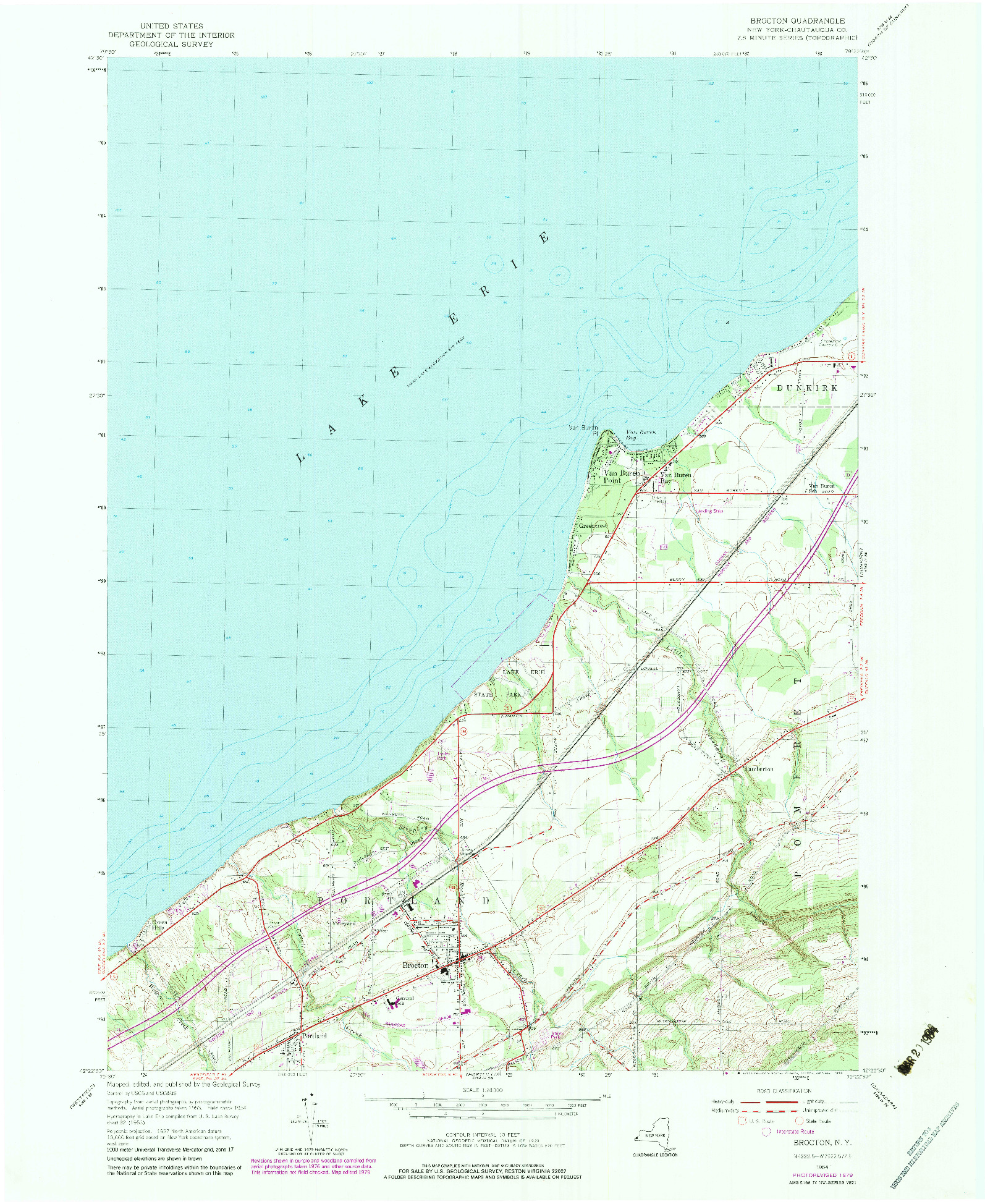 USGS 1:24000-SCALE QUADRANGLE FOR BROCTON, NY 1954