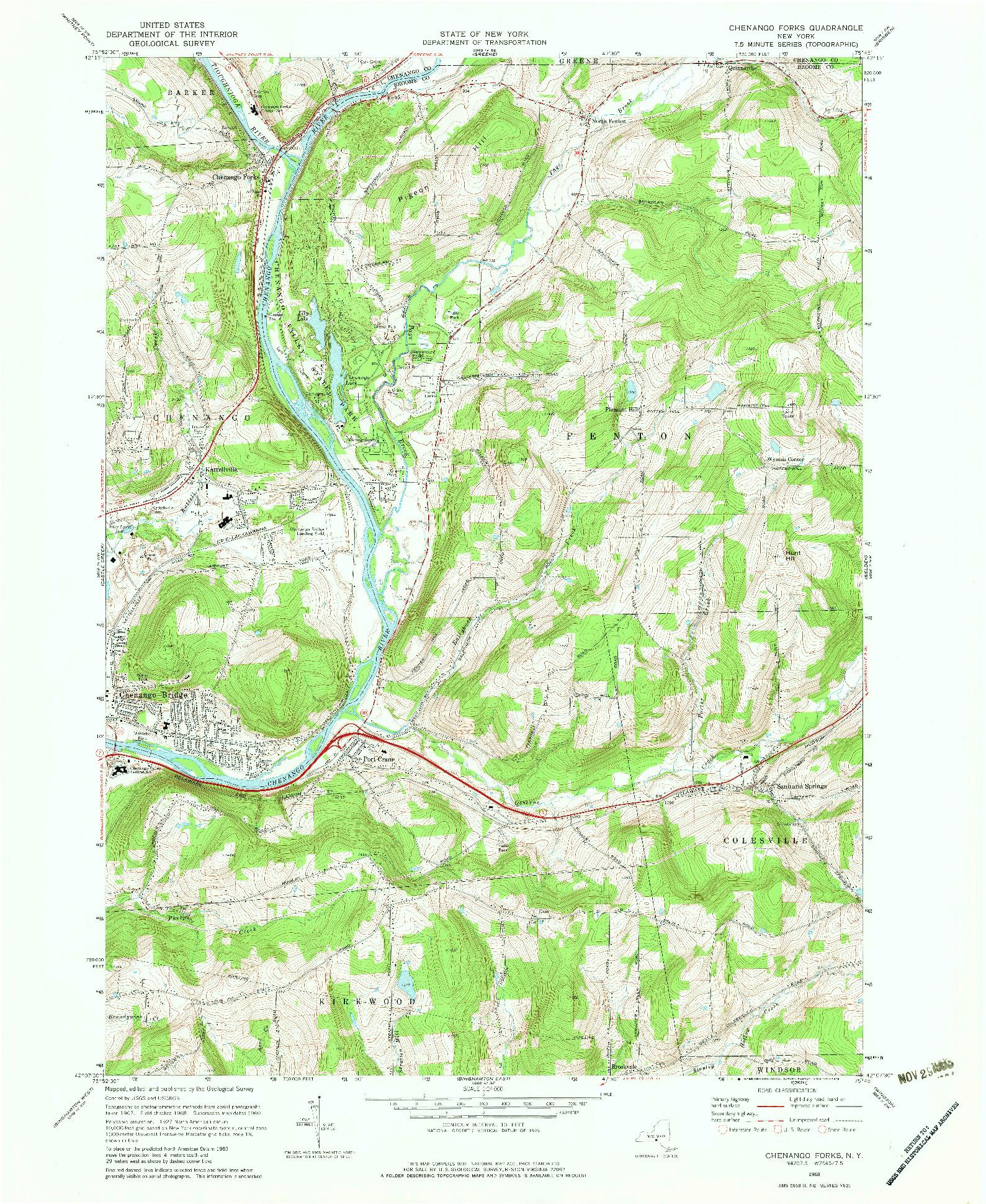 USGS 1:24000-SCALE QUADRANGLE FOR CHENANGO FORKS, NY 1968