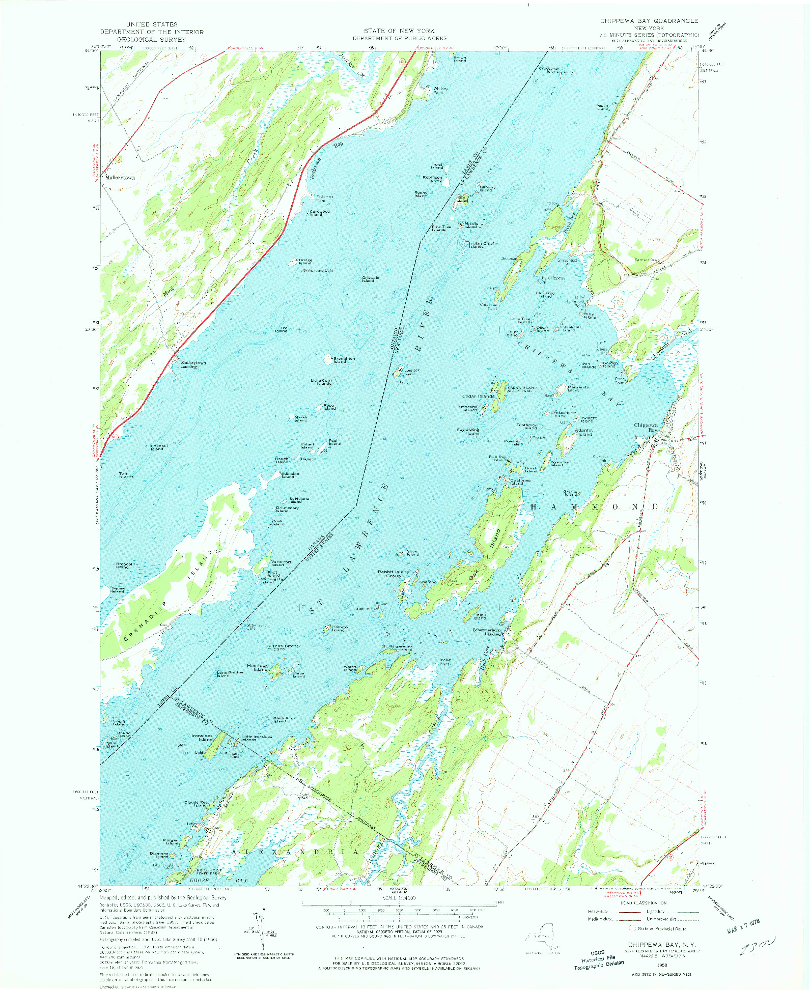 USGS 1:24000-SCALE QUADRANGLE FOR CHIPPEWA BAY, NY 1958